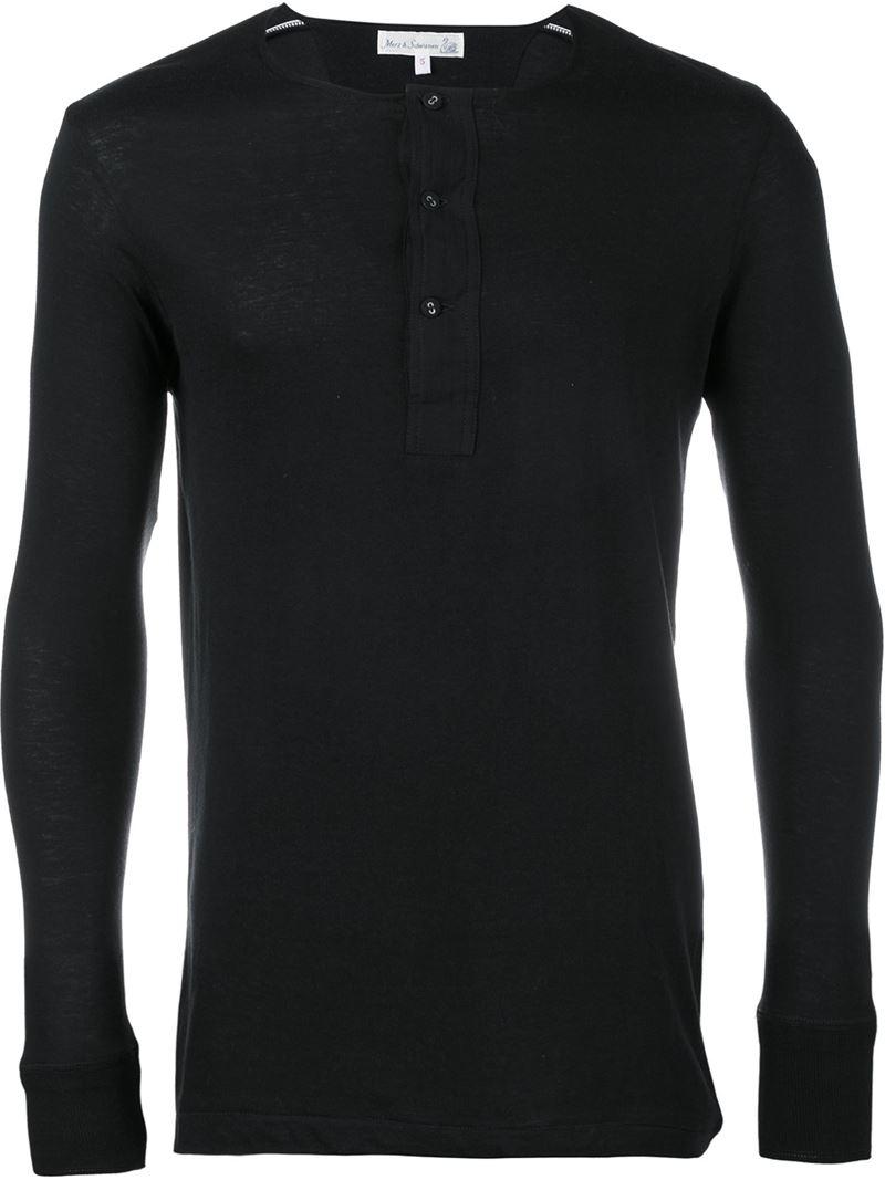 Merz b schwanen long sleeved henley t shirt in black for for Black long sleeve henley shirt