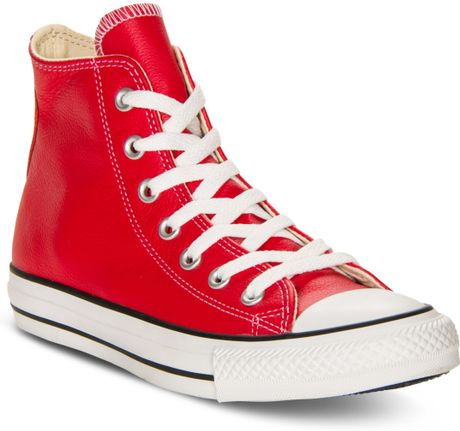 converse basic leather hi casual sneakers in red for men