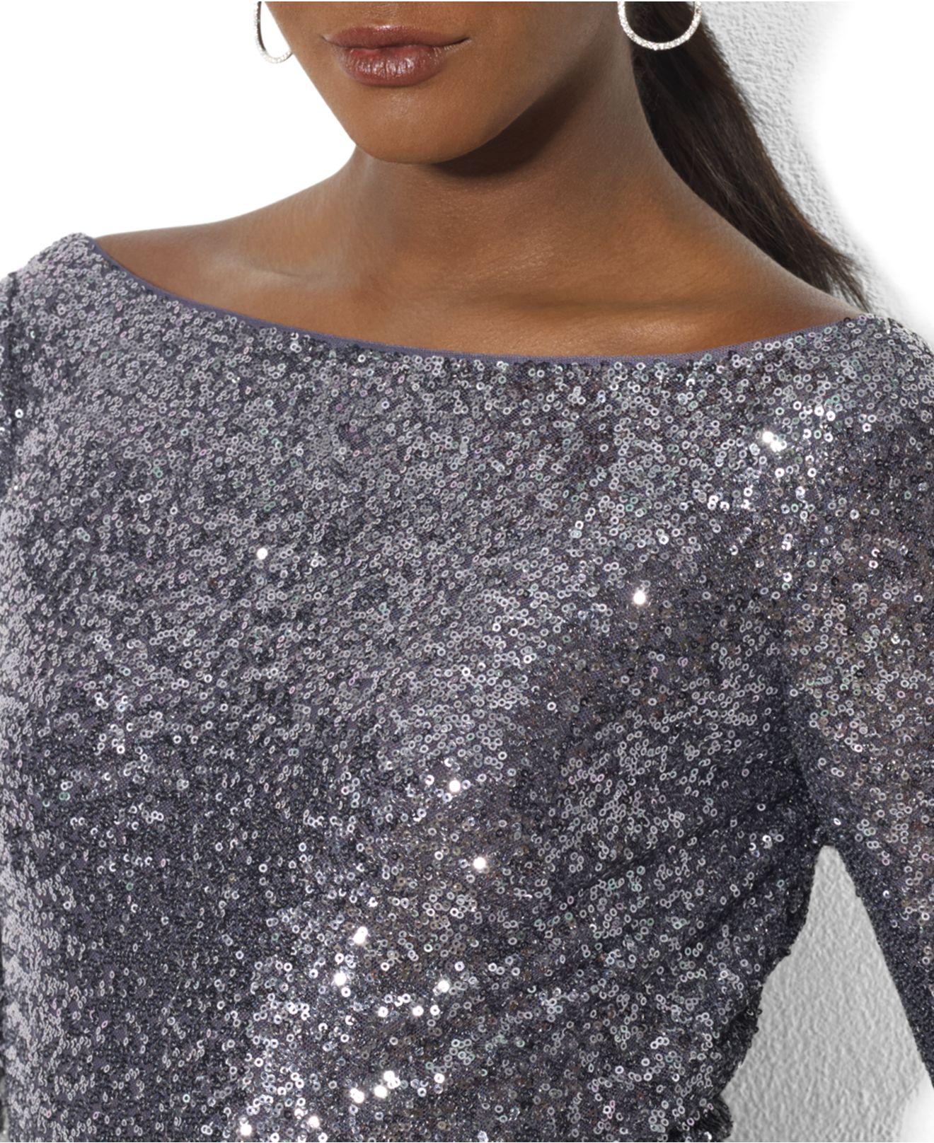 Lyst - Lauren By Ralph Lauren Long-Sleeve Sequin Gown in Metallic