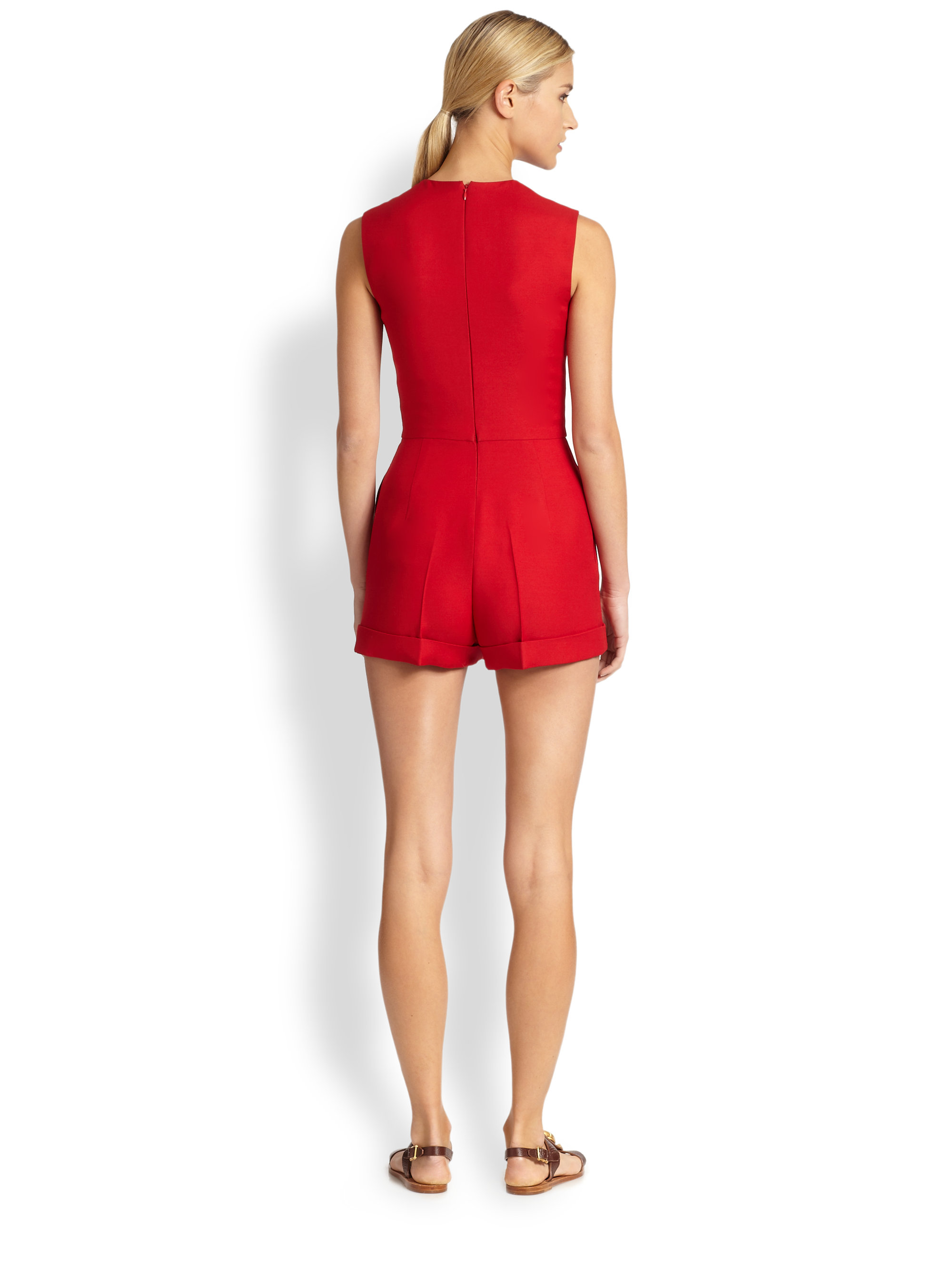 Valentino Wool Silk Short Jumpsuit in Red | Lyst