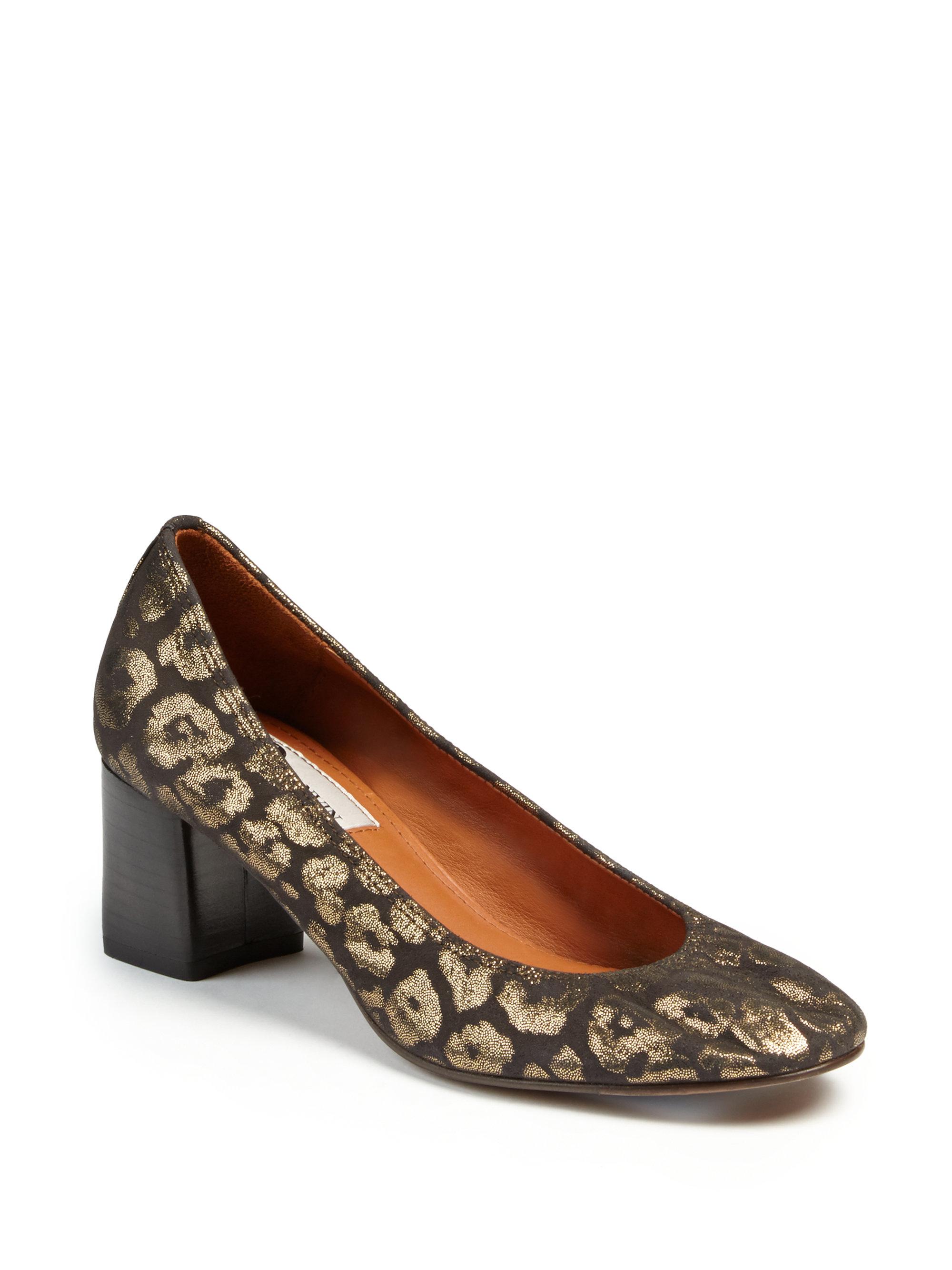 ea706166834 Lyst - Lanvin Block-heeled Metallic Leopard Leather Pumps in Metallic