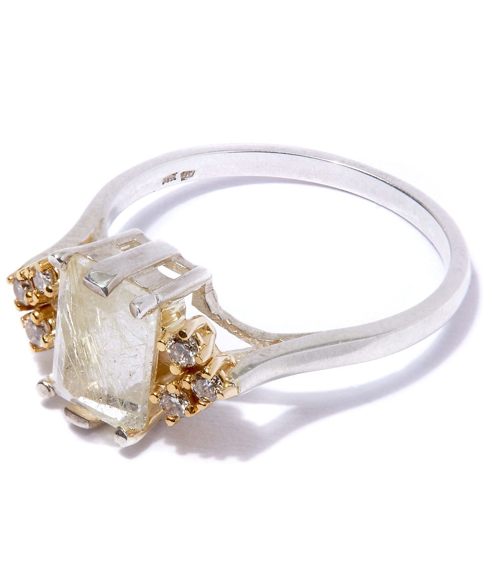 Anna sheffield medium silver quartz bea arrow diamond ring for Jewelry storm arrow ring