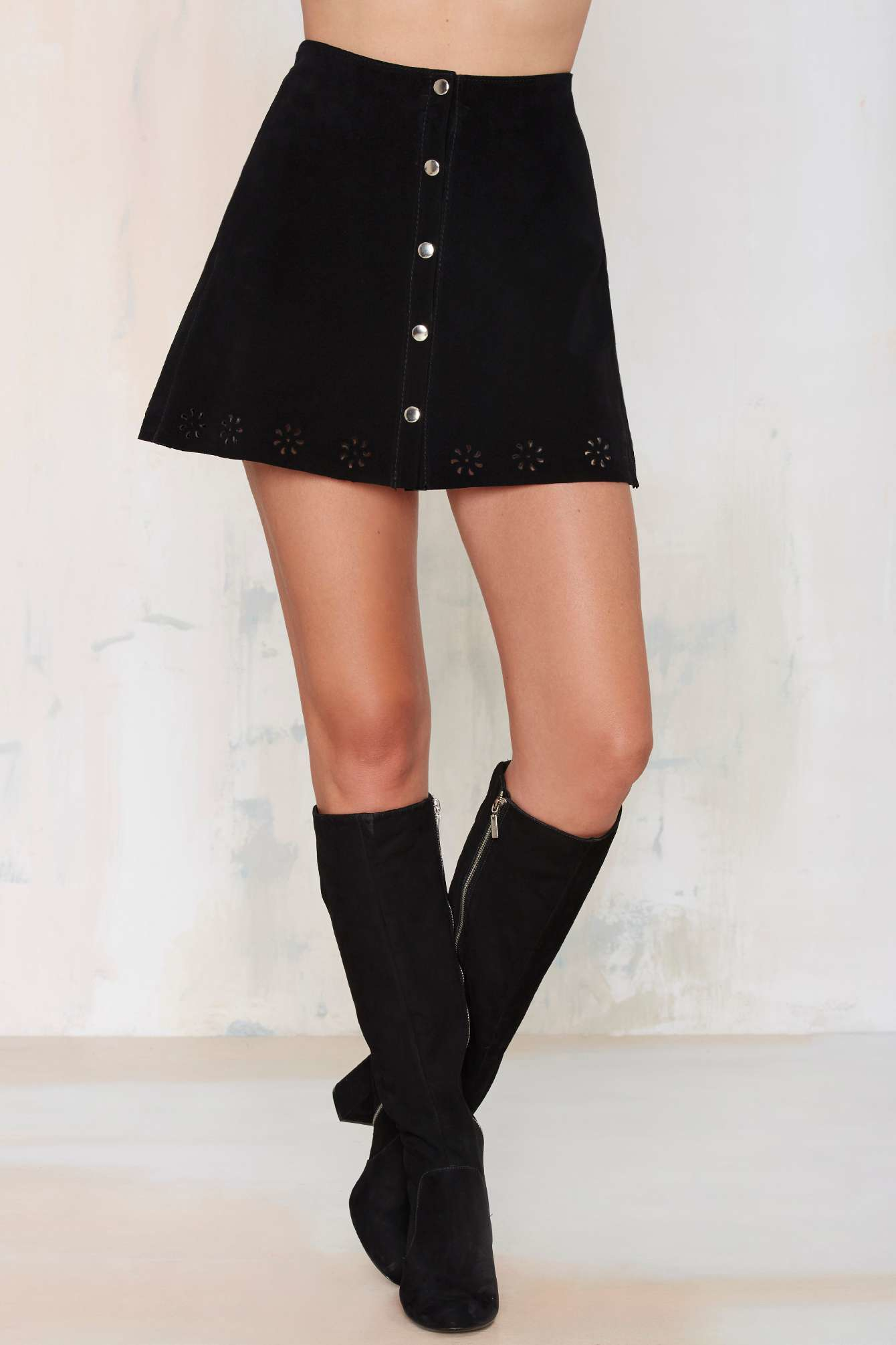 Nasty gal After Party Vintage Essex Suede Skirt in Black ...