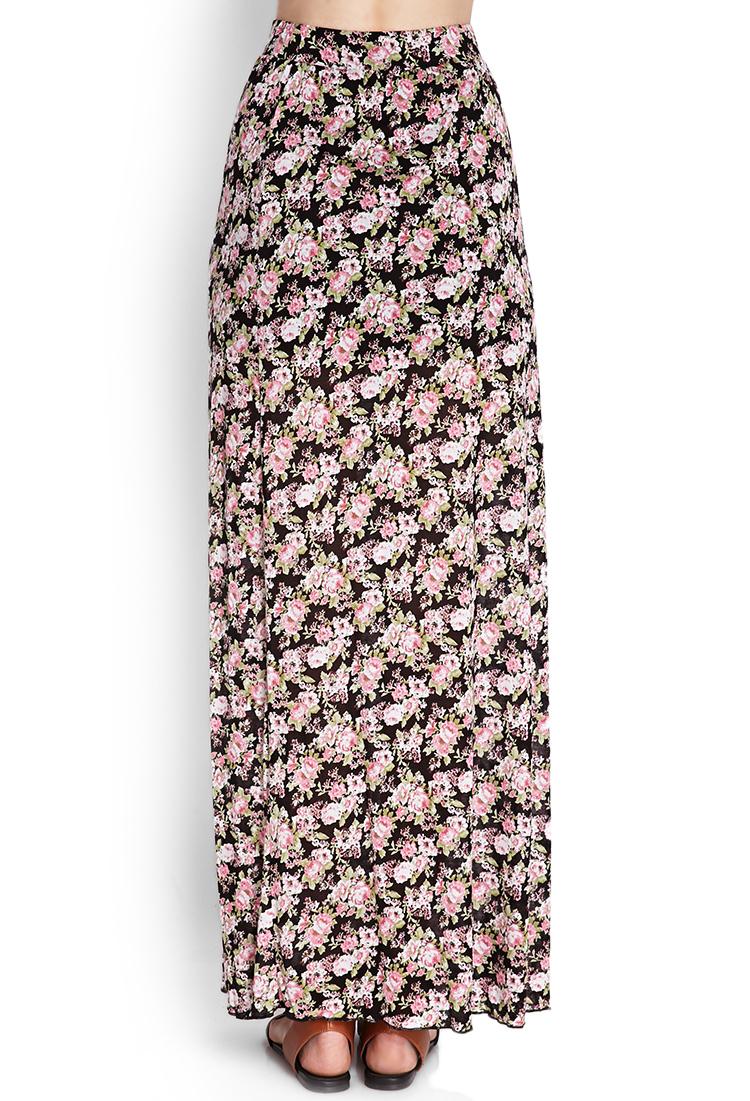 forever 21 floral slit maxi skirt in pink black pink lyst