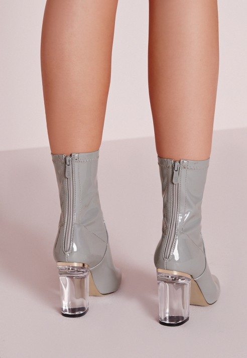 Missguided Patent Ankle Boots Perspex Heel Grey in Gray - Lyst
