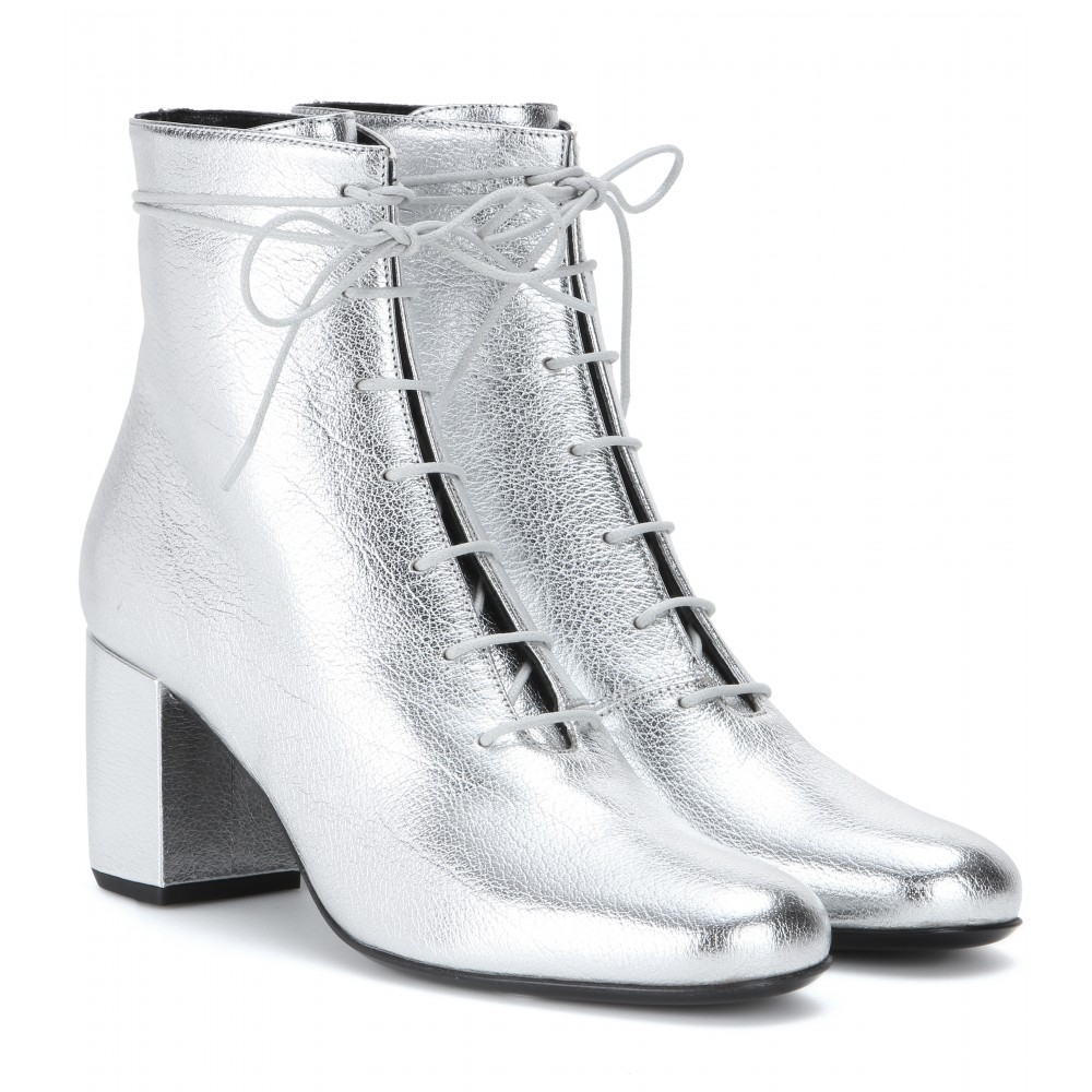 Saint laurent Metallic Leather Ankle Boots in Metallic | Lyst