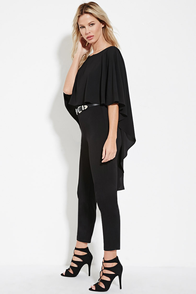 29bbabe40cc Lyst - Forever 21 Open-back Cape Jumpsuit in Black
