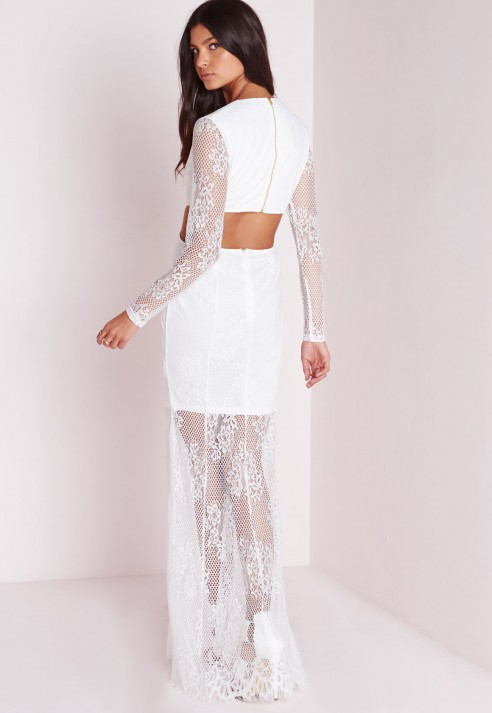 7a7ceb0aa5256 Missguided Lace Long Sleeve Cut Out Maxi Dress White in White - Lyst