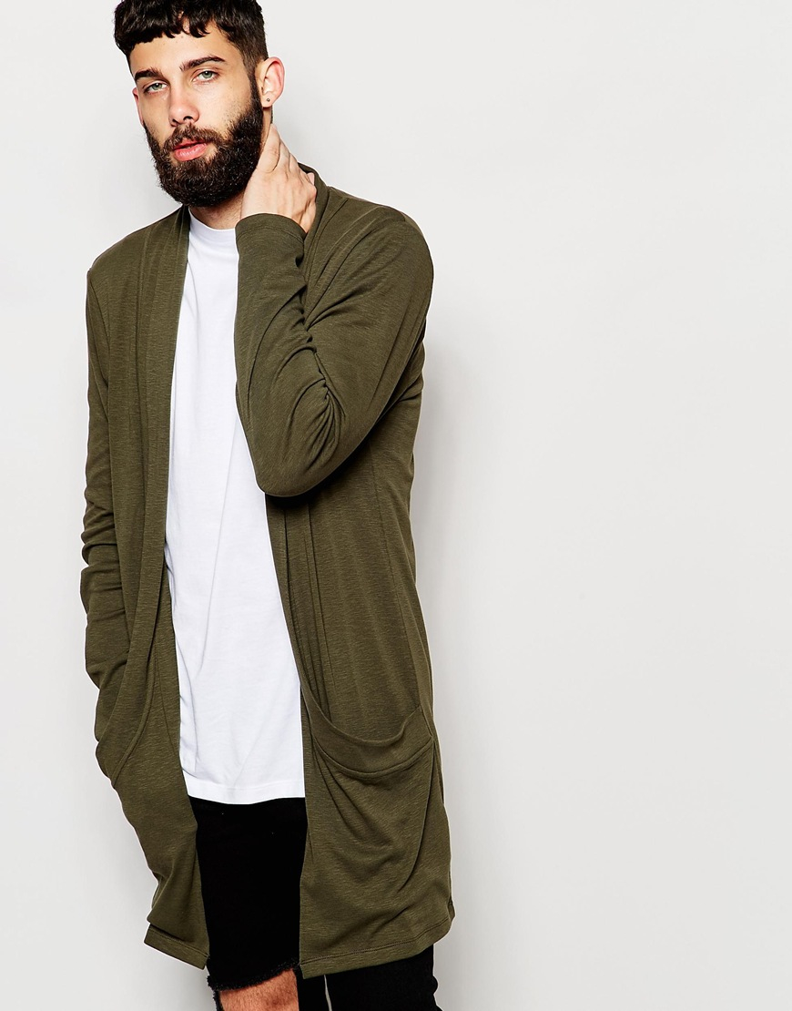 Asos Super Longline Slub Jersey Cardigan With Shawl Collar in ...