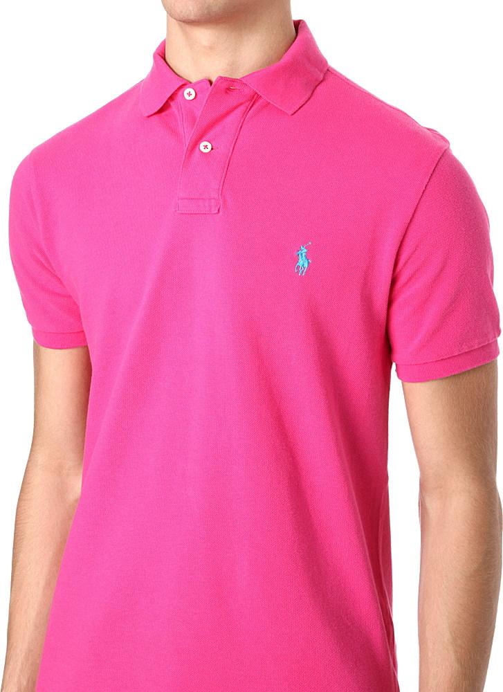 lyst ralph lauren slimfit mesh polo shirt in pink for men. Black Bedroom Furniture Sets. Home Design Ideas
