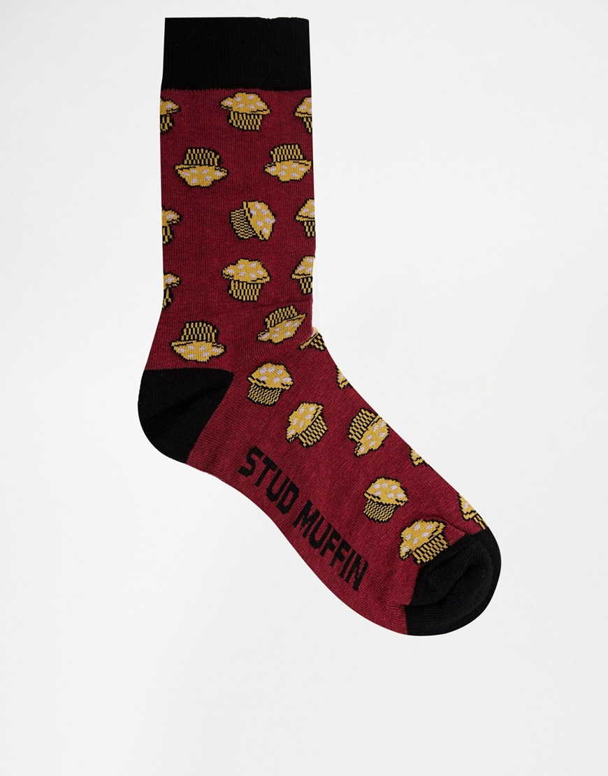 Asos Socks With Stud Muffin Design In Red For Men Lyst