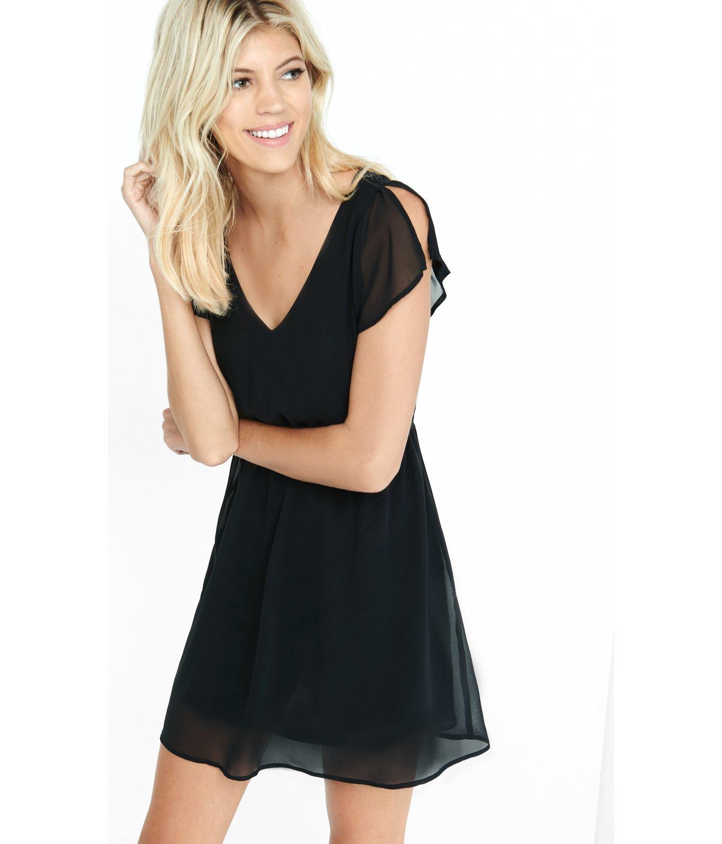 Express Black V-neck Cap Sleeve Chiffon Mini Dress in Black | Lyst