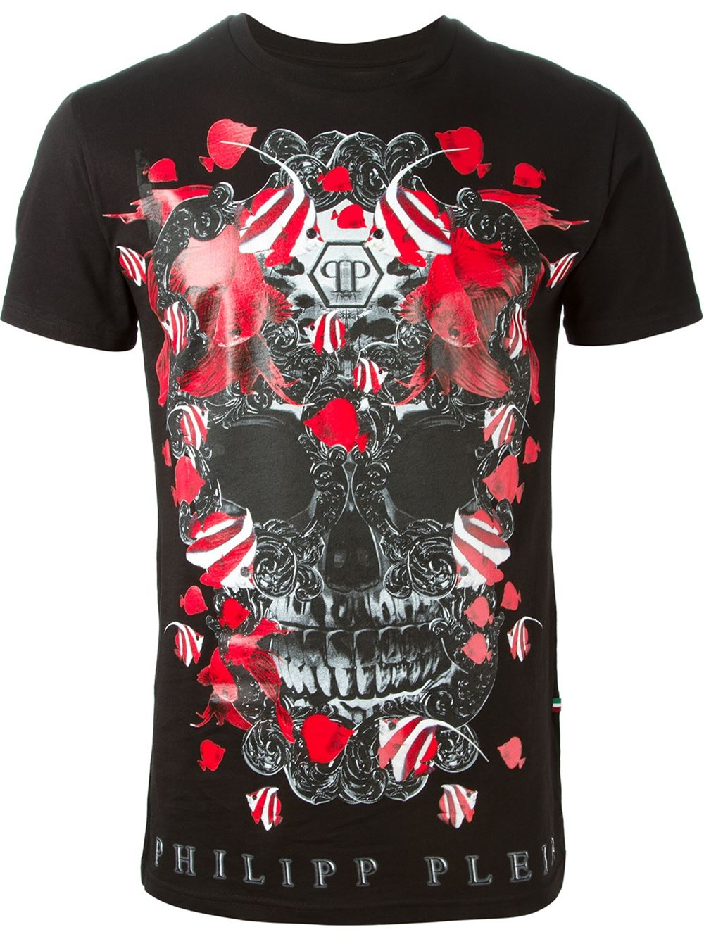 philipp plein clown fish cotton t shirt in black for men lyst. Black Bedroom Furniture Sets. Home Design Ideas