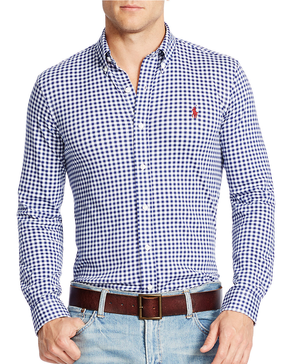 Polo Ralph Lauren Gingham Knit Dress Shirt In Blue For Men