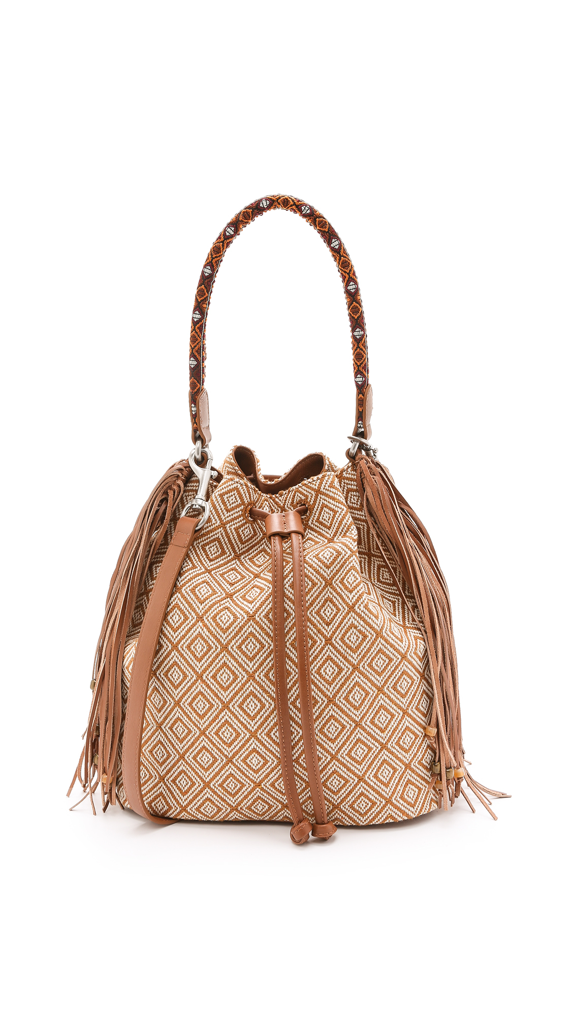 6b1ec899388e Lyst - Sam Edelman Beverly Fringe Bucket Bag - Chestnut in Brown