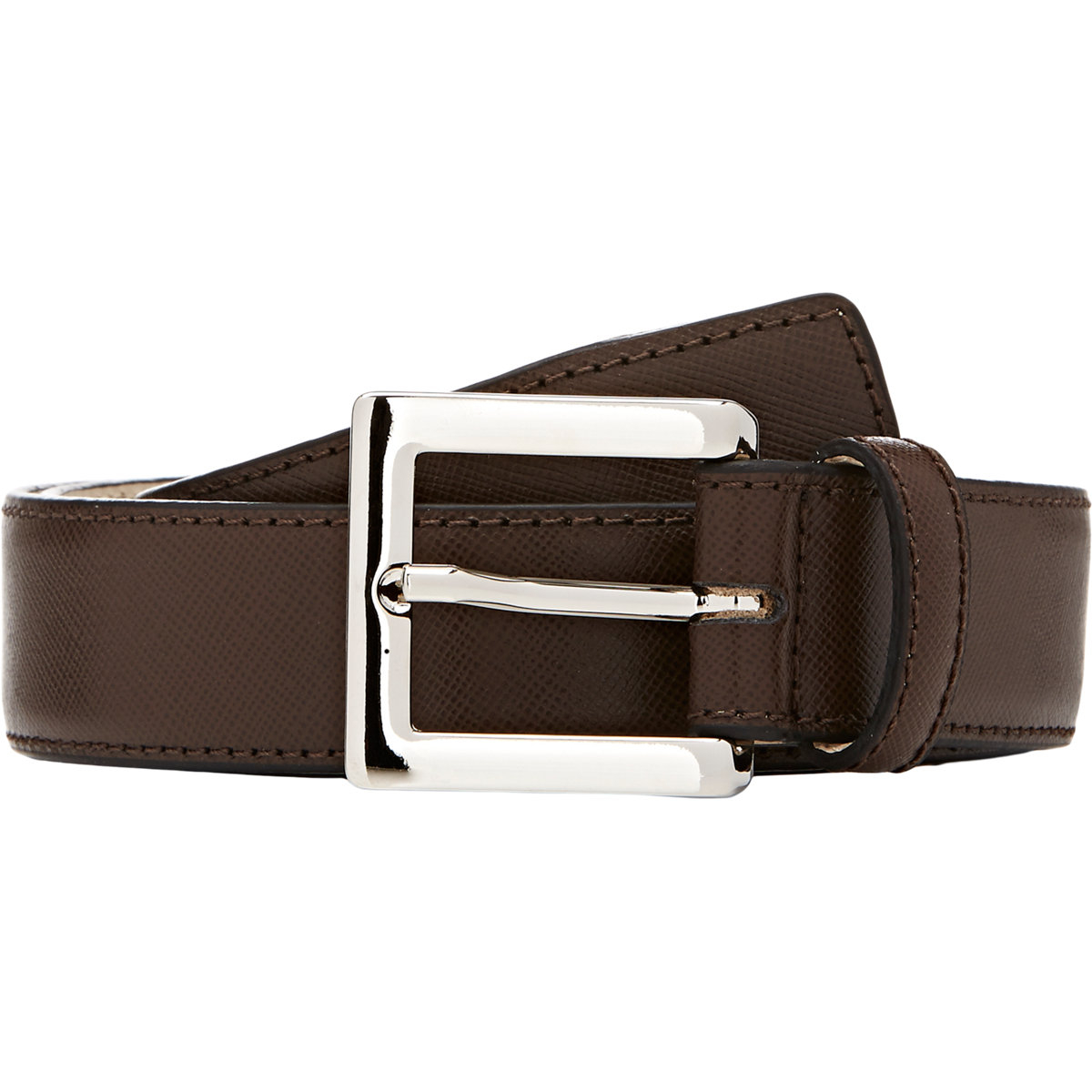 barneys new york saffiano leather belt in brown for lyst