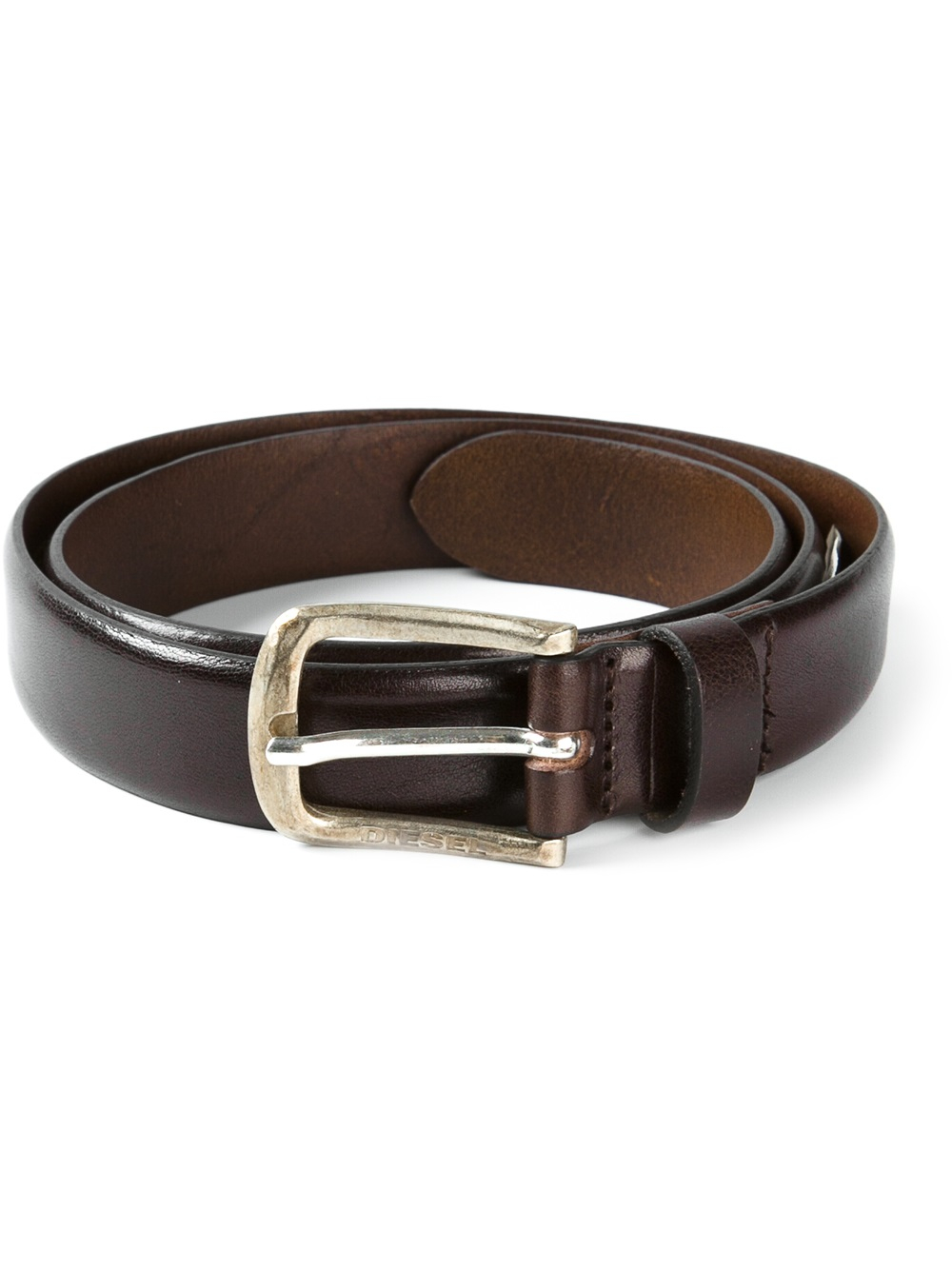 diesel leather belt in brown for lyst