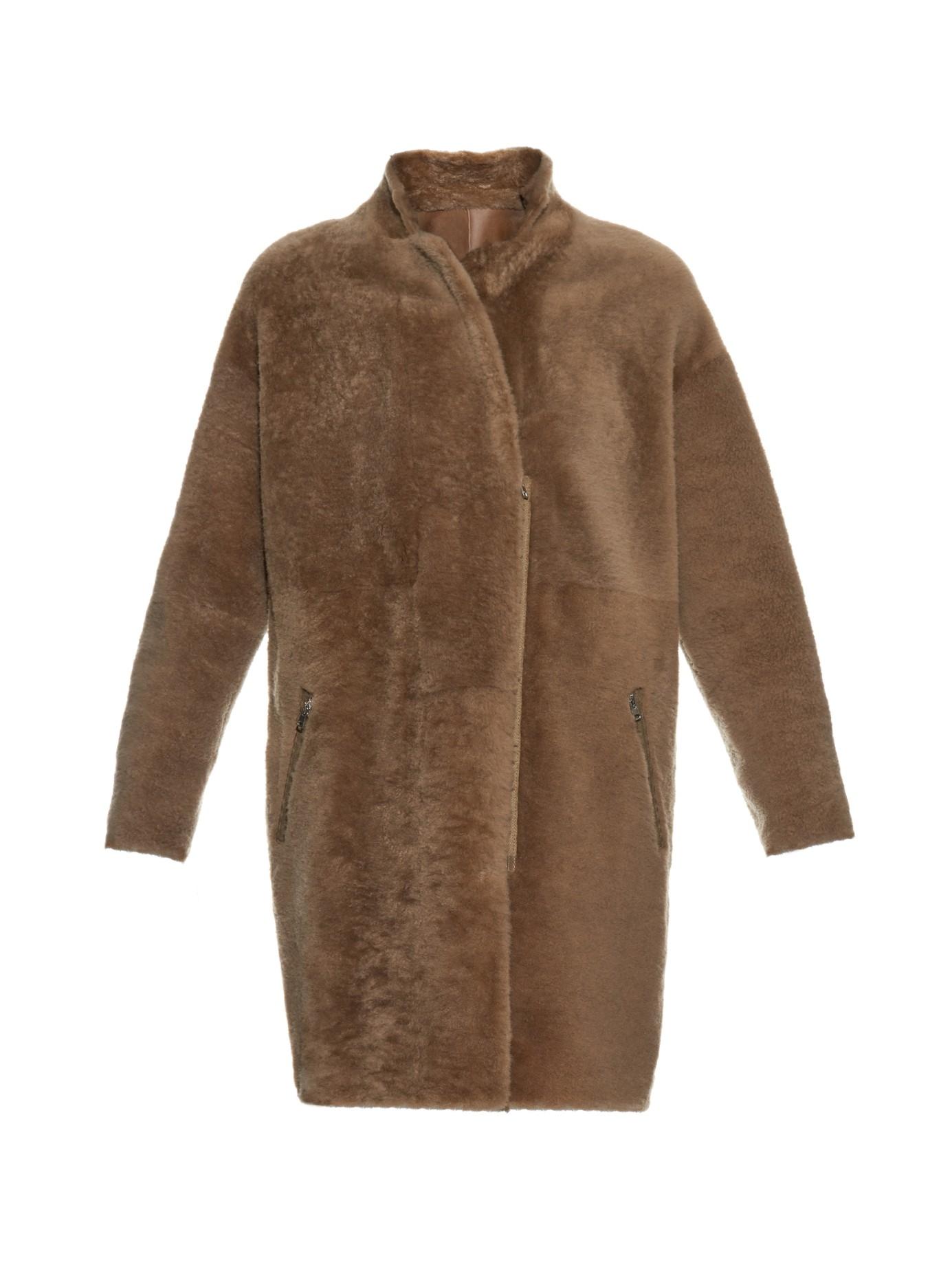 32 paradis sprung freres reversible shearling coat in