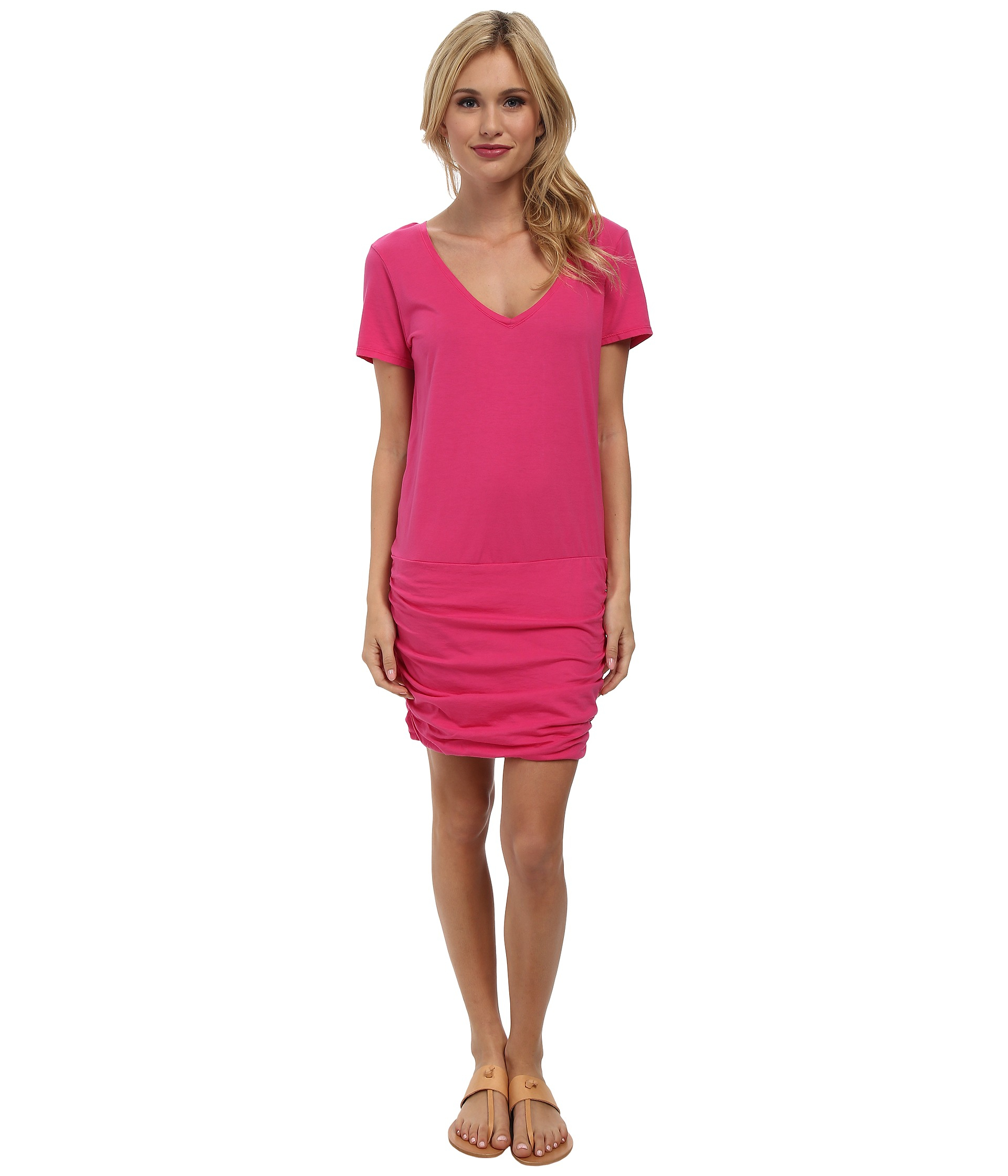Michael stars short sleeve v neck dress in pink fruit for Michael stars t shirts on sale