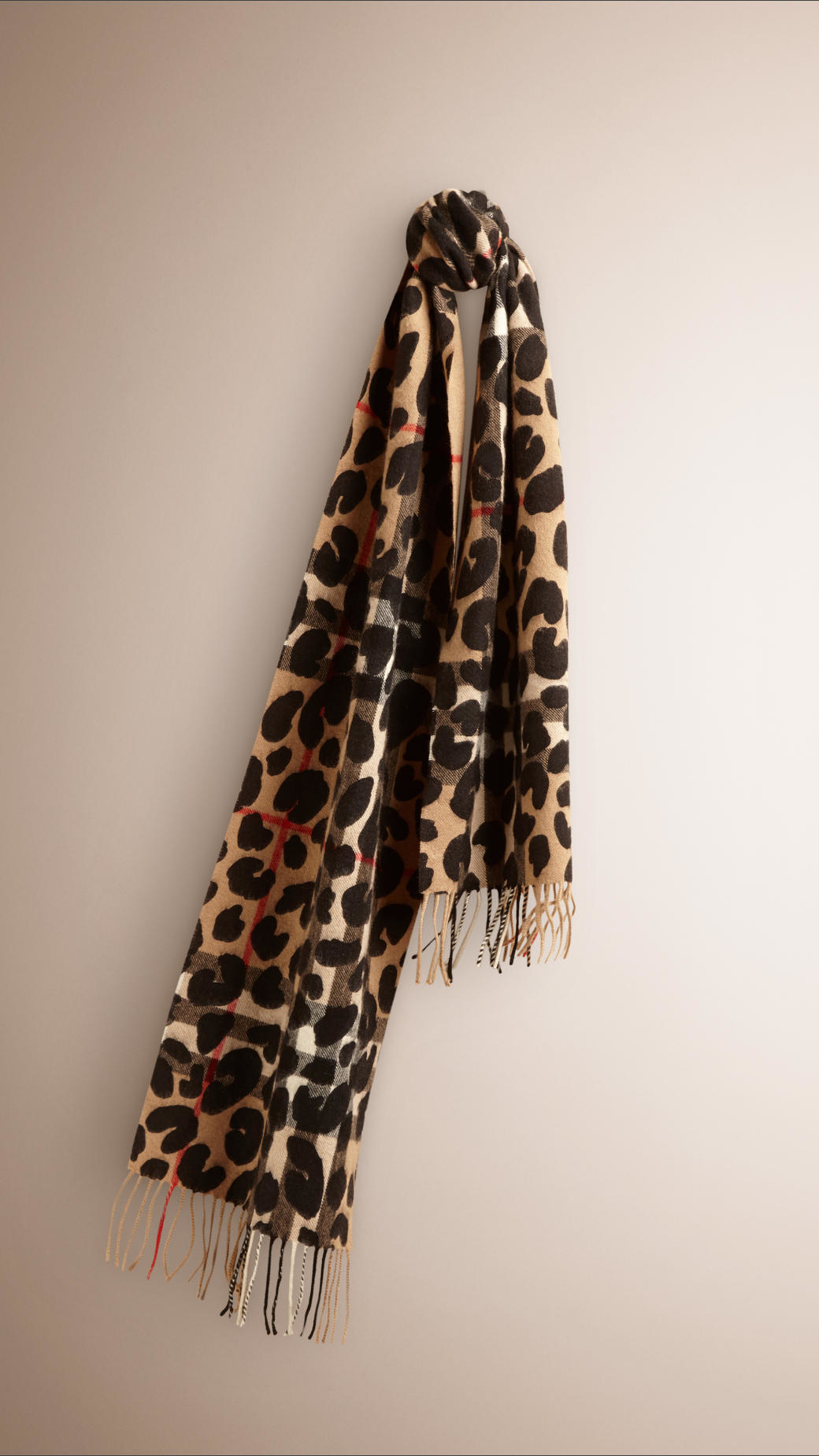 Lyst Burberry Animal Print Check Cashmere Scarf Camel In