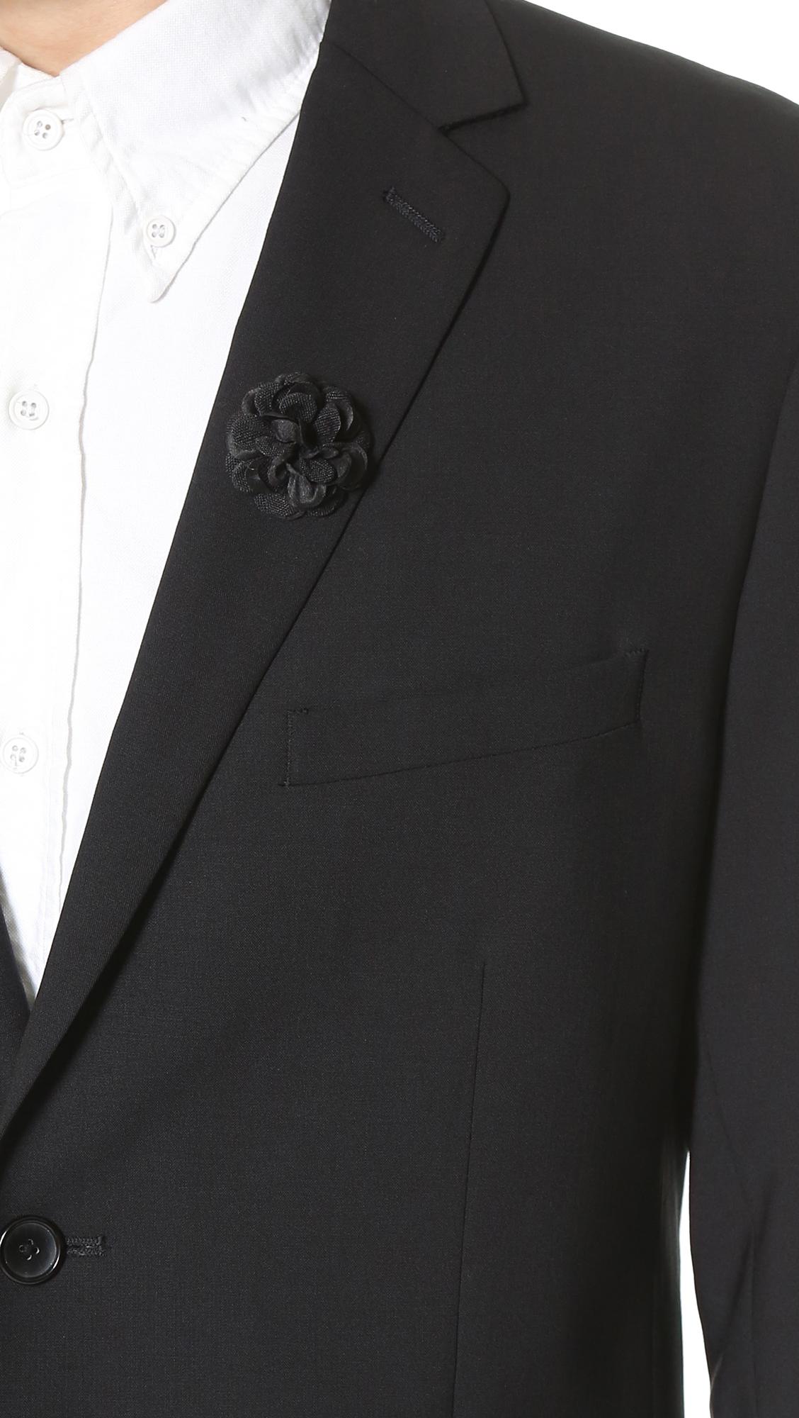Hook albert large lapel flower in black for men lyst gallery dhlflorist Choice Image