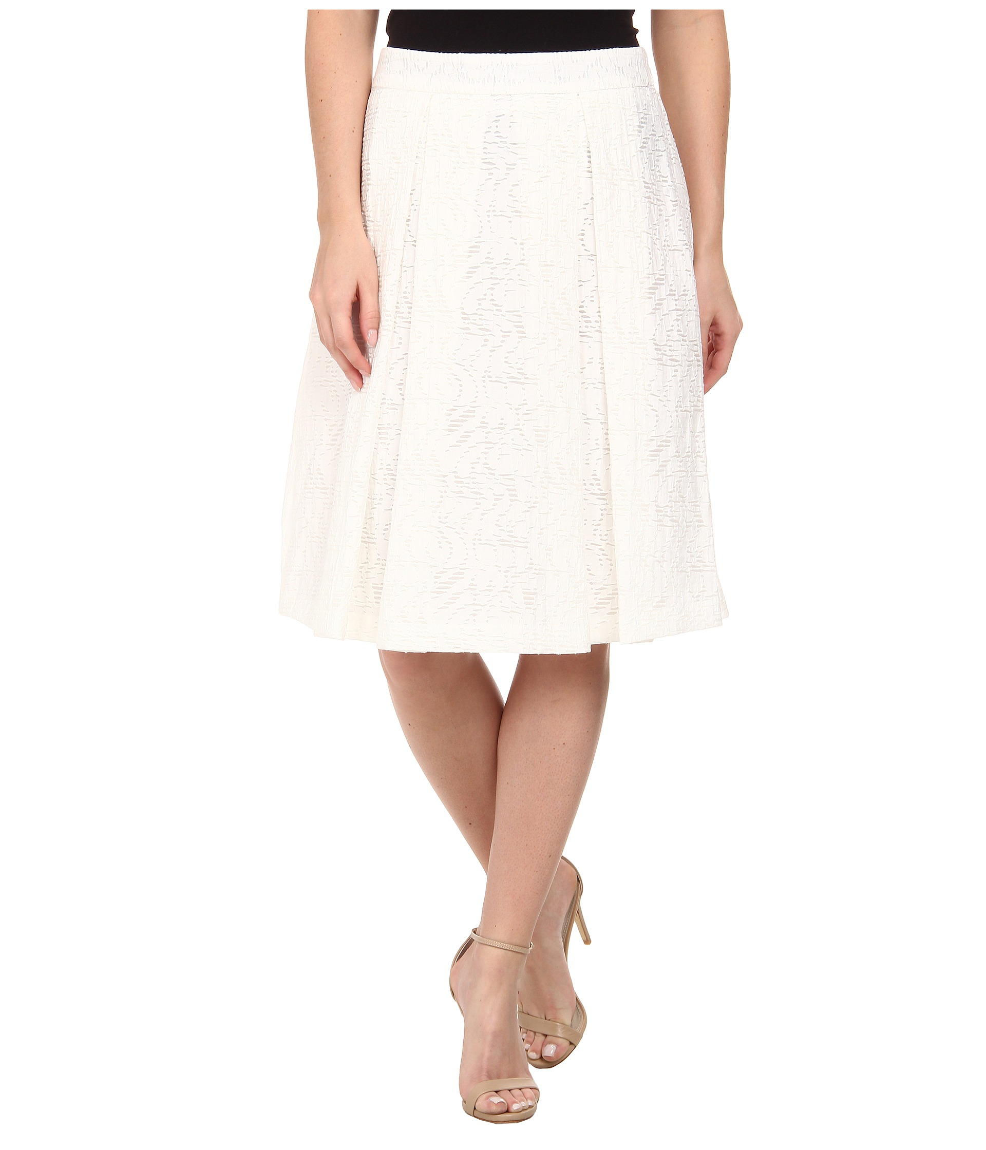 Vince camuto Knee-Length A-Line Skirt W/ Front Pleats in White | Lyst