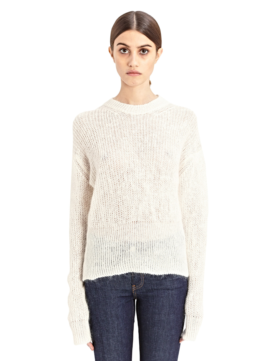 acne studios pamela mohair sweater in white lyst. Black Bedroom Furniture Sets. Home Design Ideas