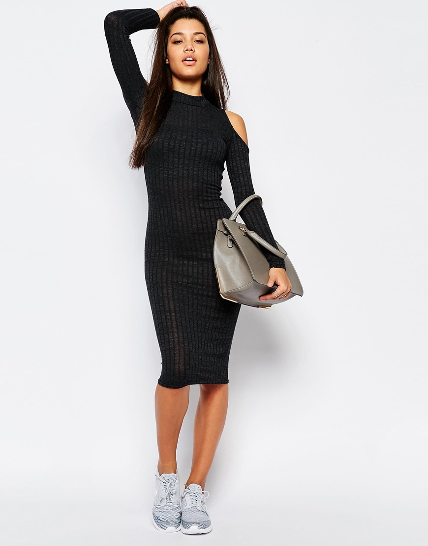 b3187c91b3add Missguided Cold Shoulder Ribbed Midi Bodycon Dress - Grey in Gray - Lyst