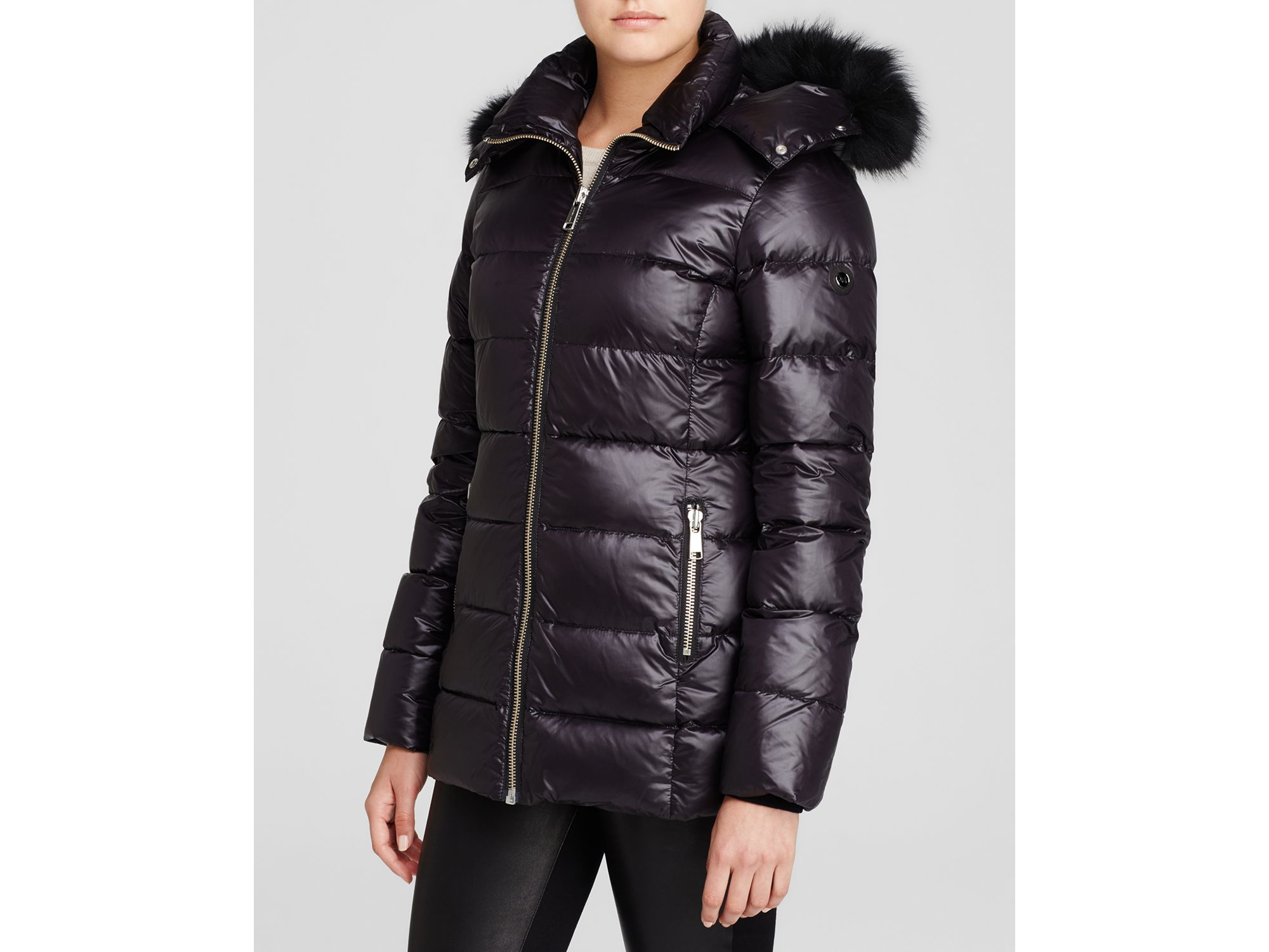 Andrew Marc Fur Trim Hooded Puffer Coat In Black Lyst