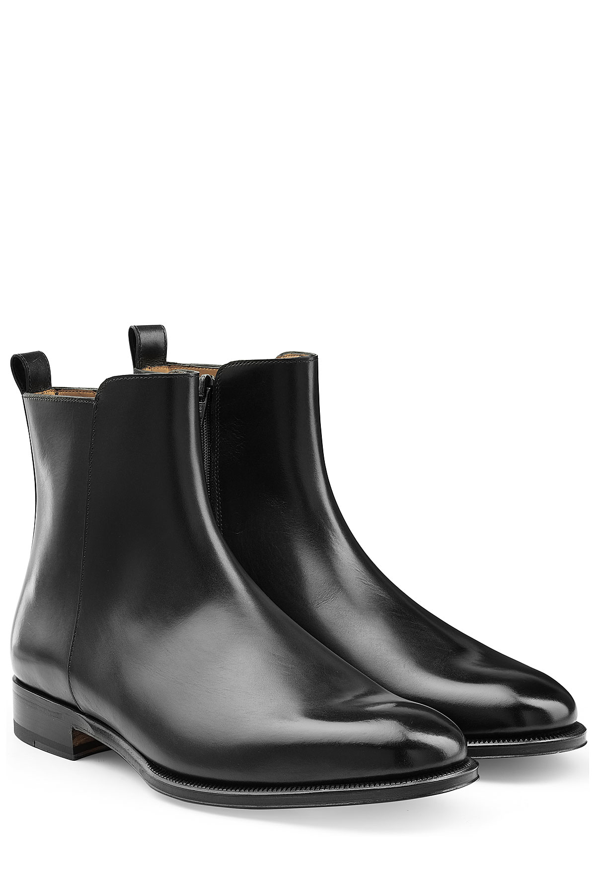Valentino Leather Ankle Boots Black In Black For Men Lyst