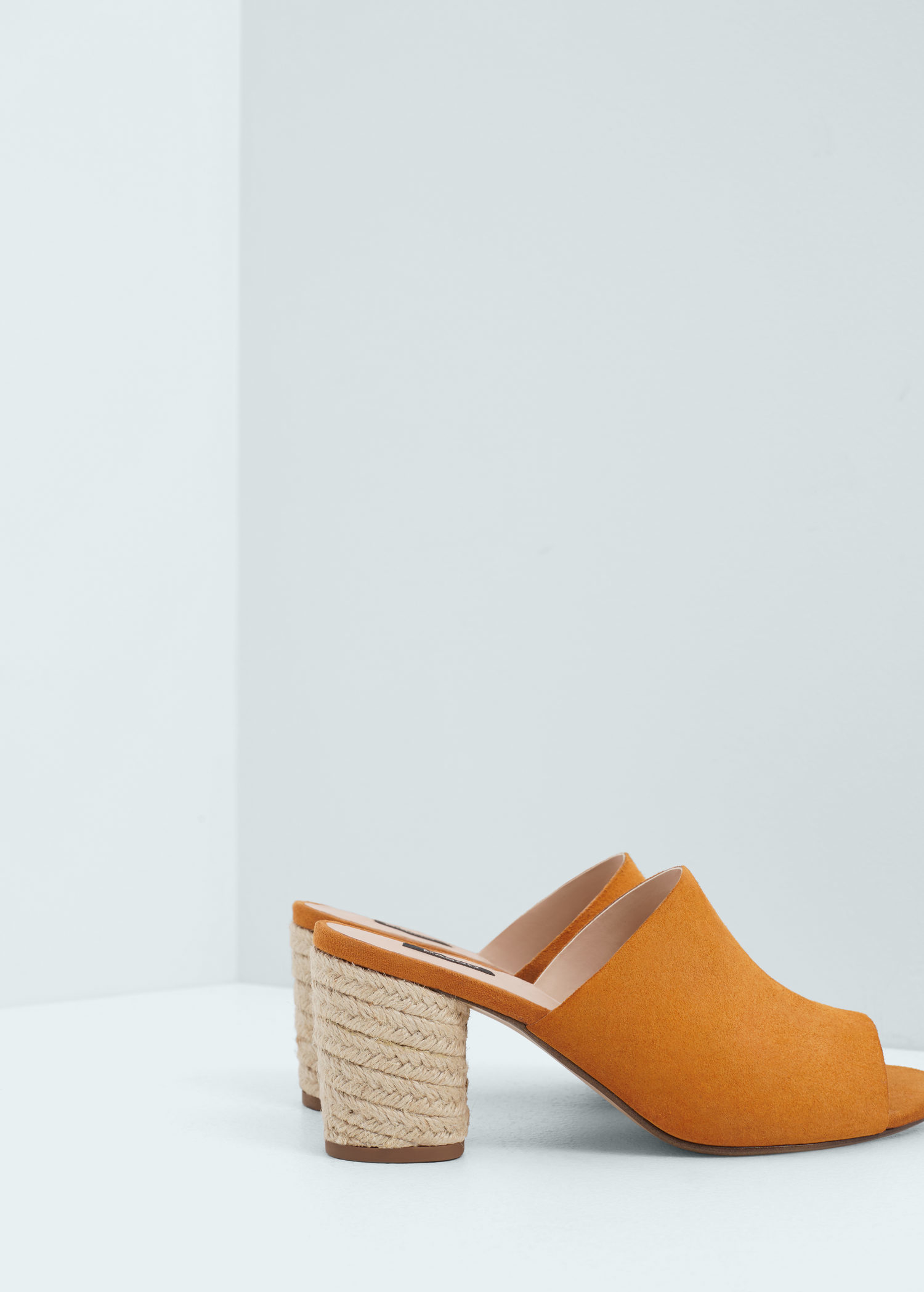 ab924e75fdf Lyst - Mango Esparto Leather Sandals in Yellow