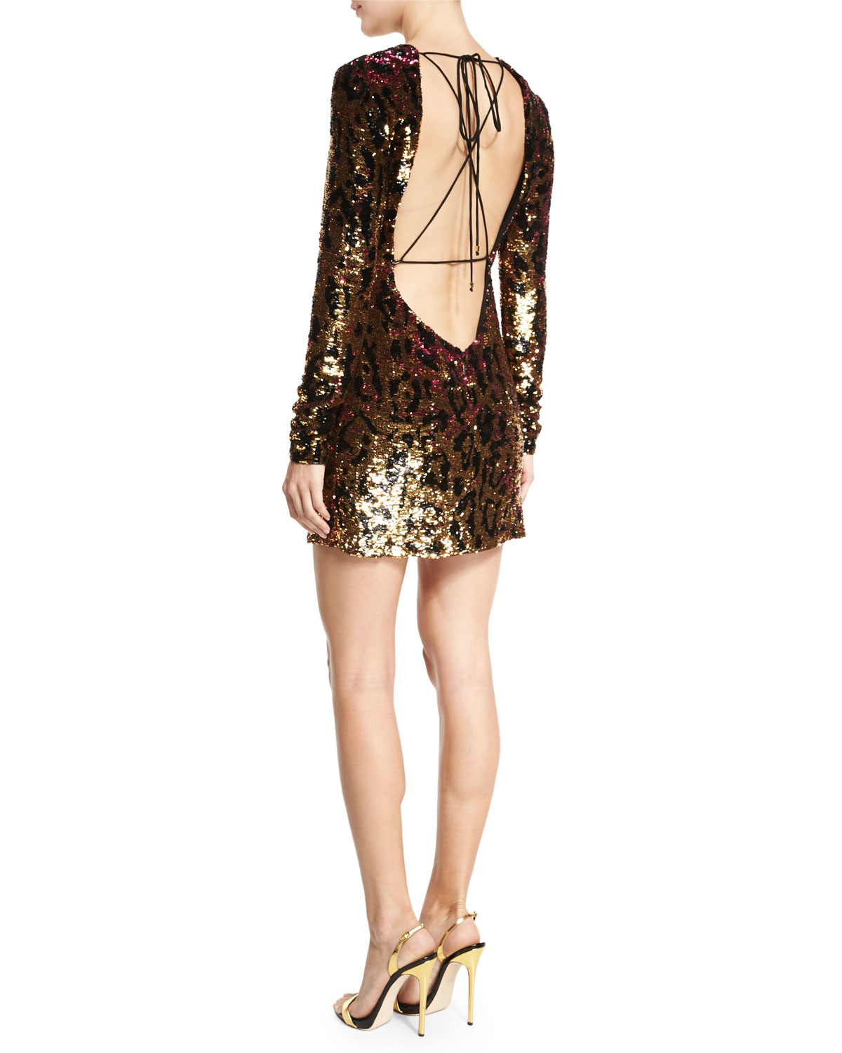 ... Roberto Cavalli - Metallic Sequined Leopard-print Open-back Mini Dress  - Lyst size ... 309138584
