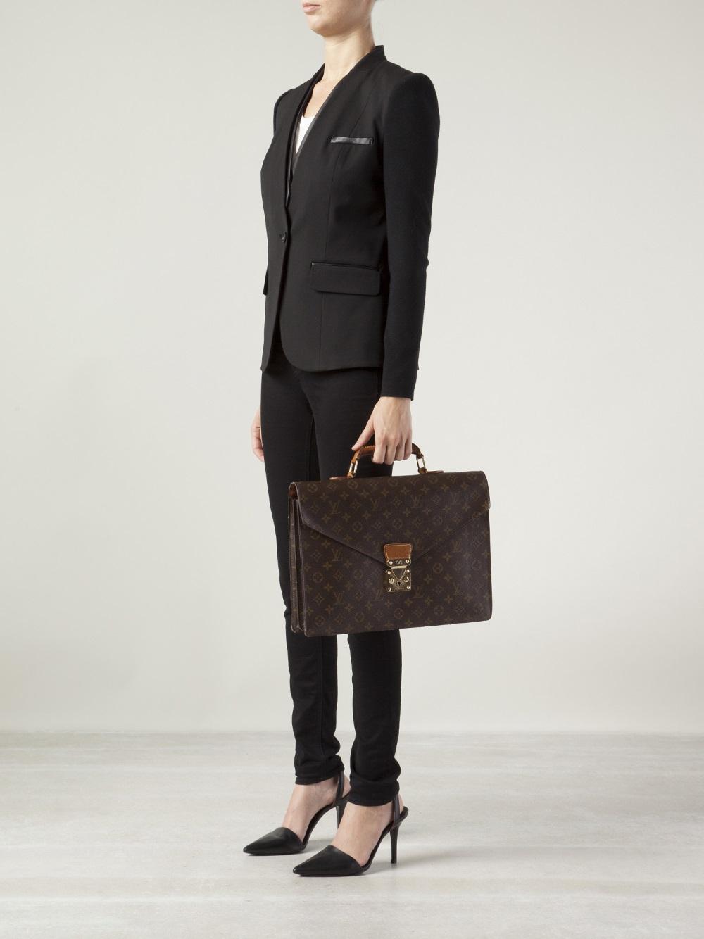 Lyst Louis Vuitton Monogram Serviette Briefcase In Brown