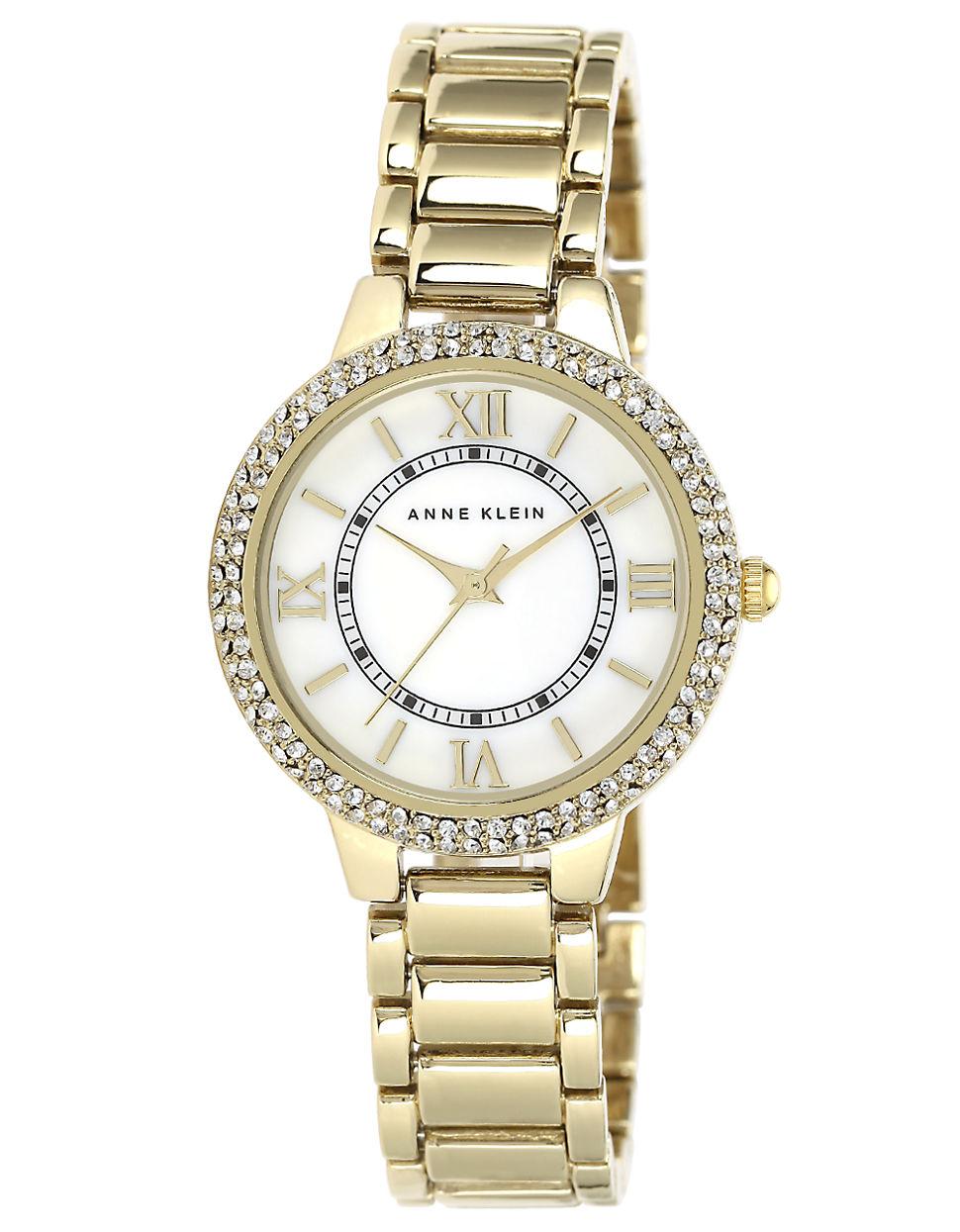 Anne klein ladies 39 gold tone swarovski crystal quartz watch in metallic lyst for Anne klein swarovski crystals