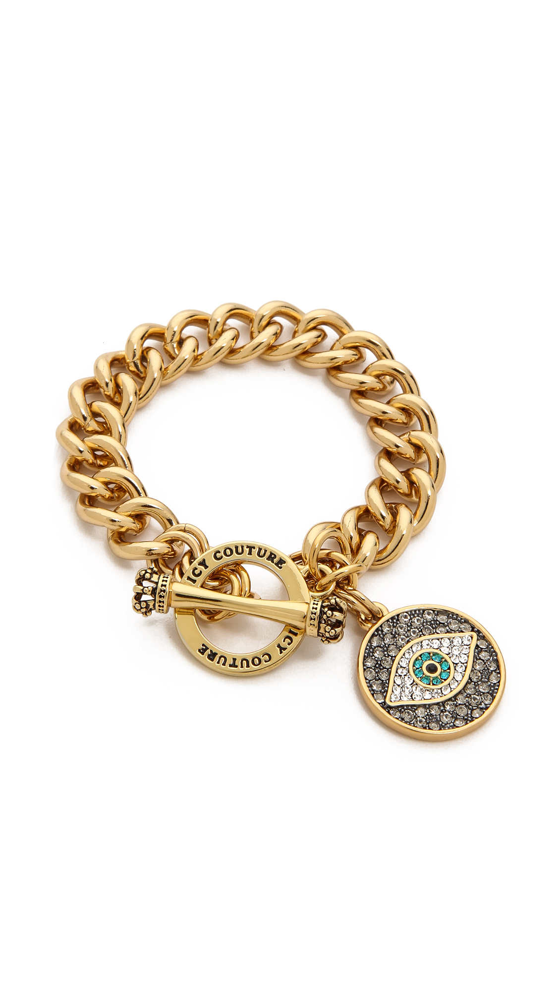 Lyst - Juicy Couture Pave Evil Eye Charm Bracelet Gold in Metallic