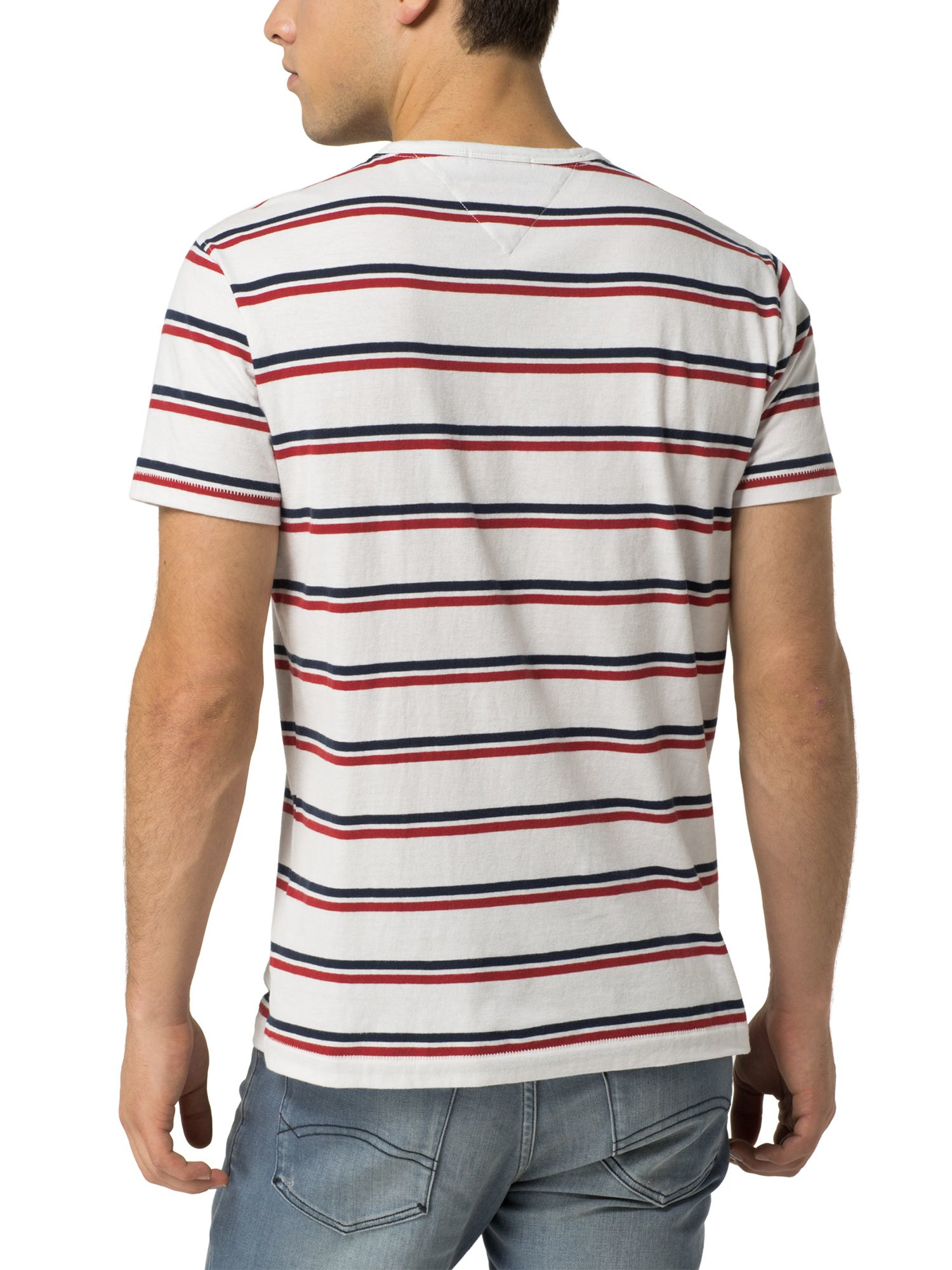 Tommy hilfiger stripe t shirt in white for men lyst for Tommy hilfiger fitzgerald striped shirt