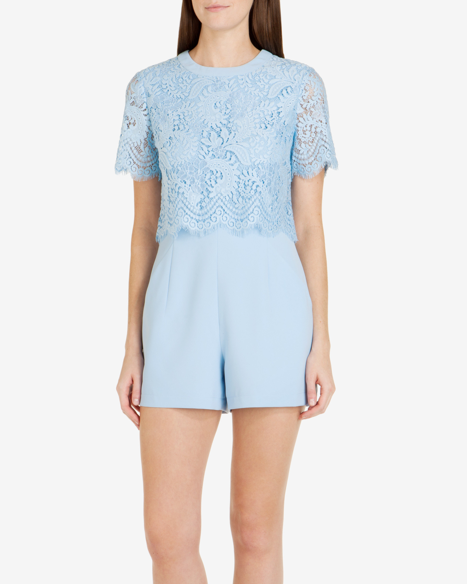 bbf41d1ff99 Ted Baker Lace Bodice Playsuit in Blue - Lyst