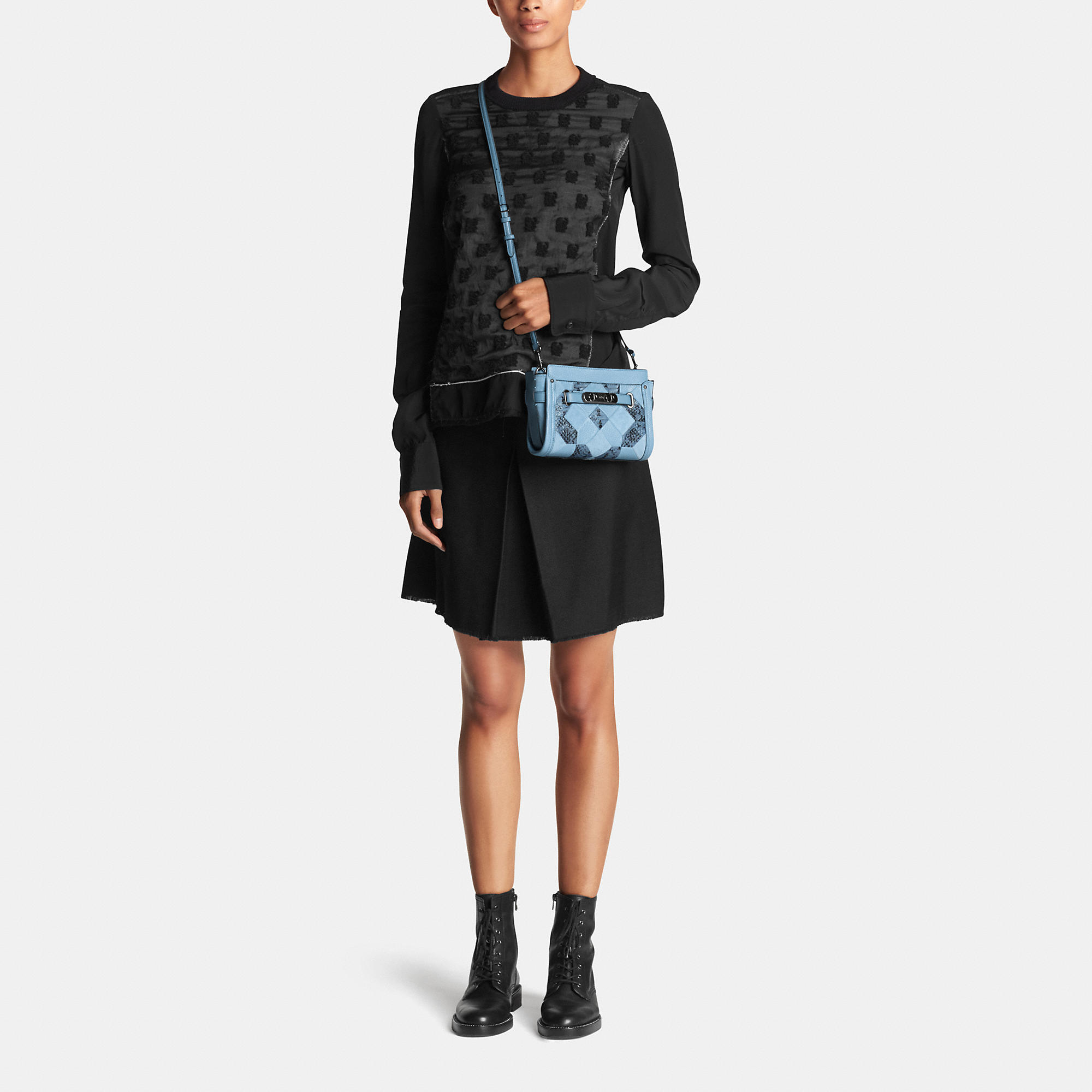 717fa1dcfe2 Lyst - COACH Swagger Wristlet In Patchwork Exotic Embossed Leather ...