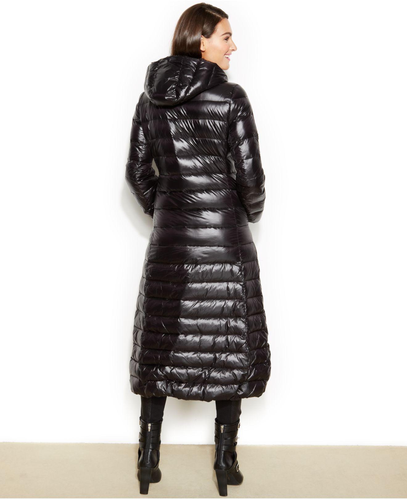 Calvin klein Hooded Maxi Down Puffer Coat in Black | Lyst