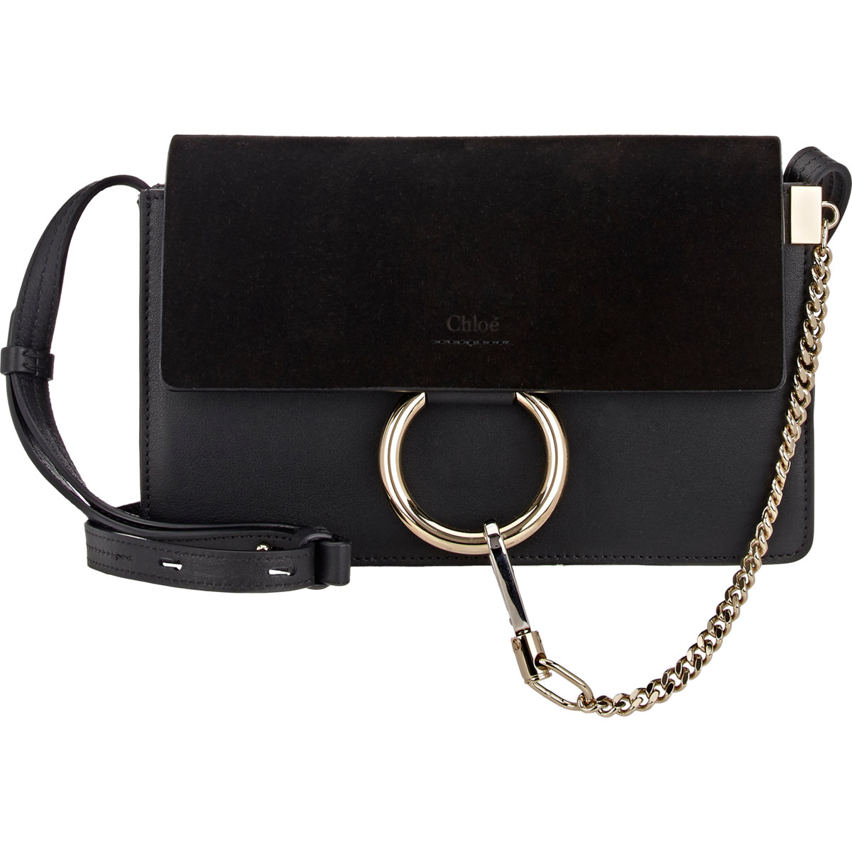 Chlo�� Faye Small Leather and Suede Shoulder Bag in Black | Lyst
