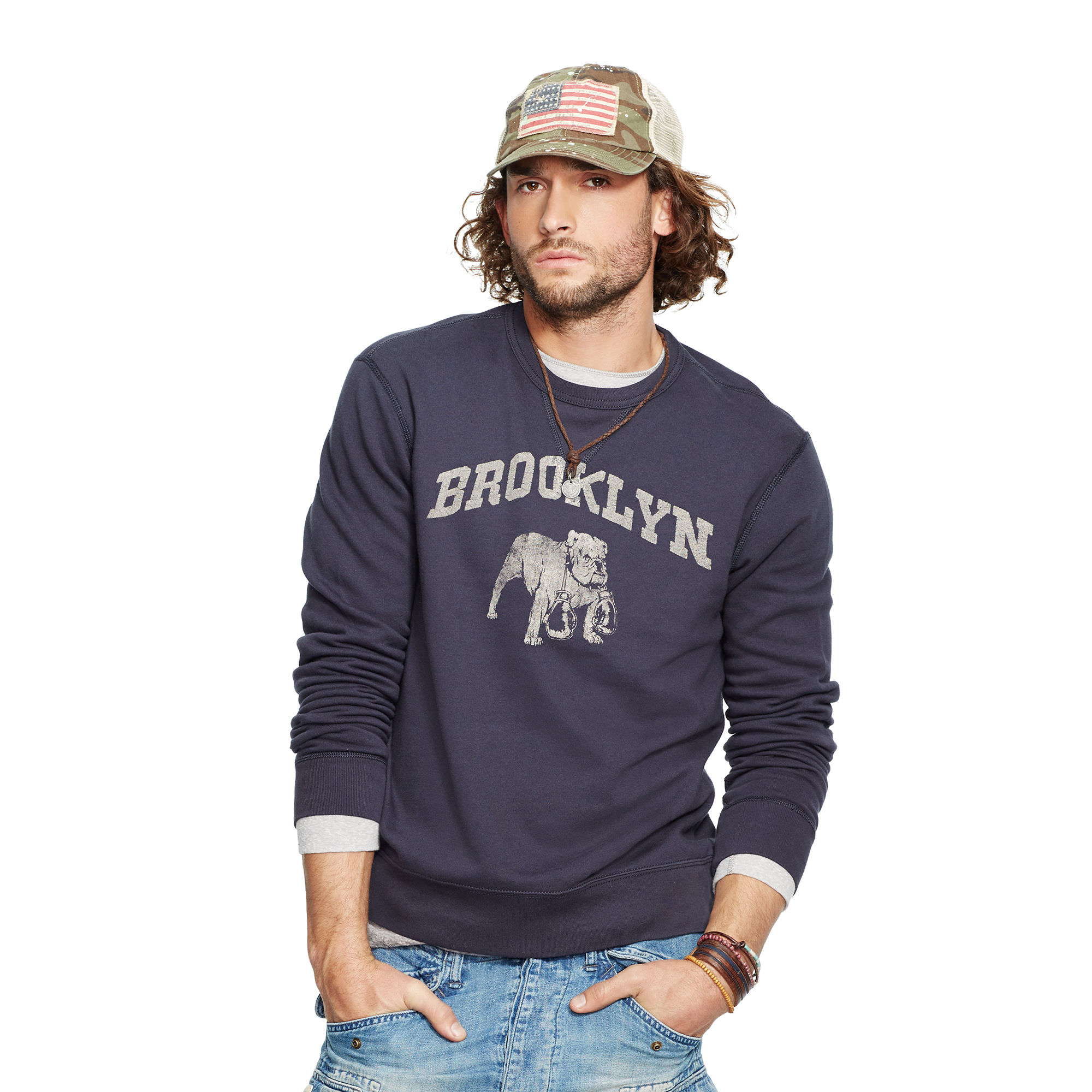 denim supply ralph lauren terry graphic sweatshirt in blue for men classic navy lyst. Black Bedroom Furniture Sets. Home Design Ideas