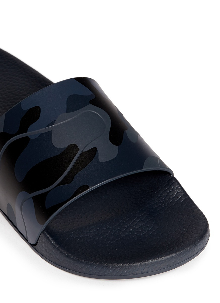 Valentino Camouflage Print Leather Slide Sandals In Blue