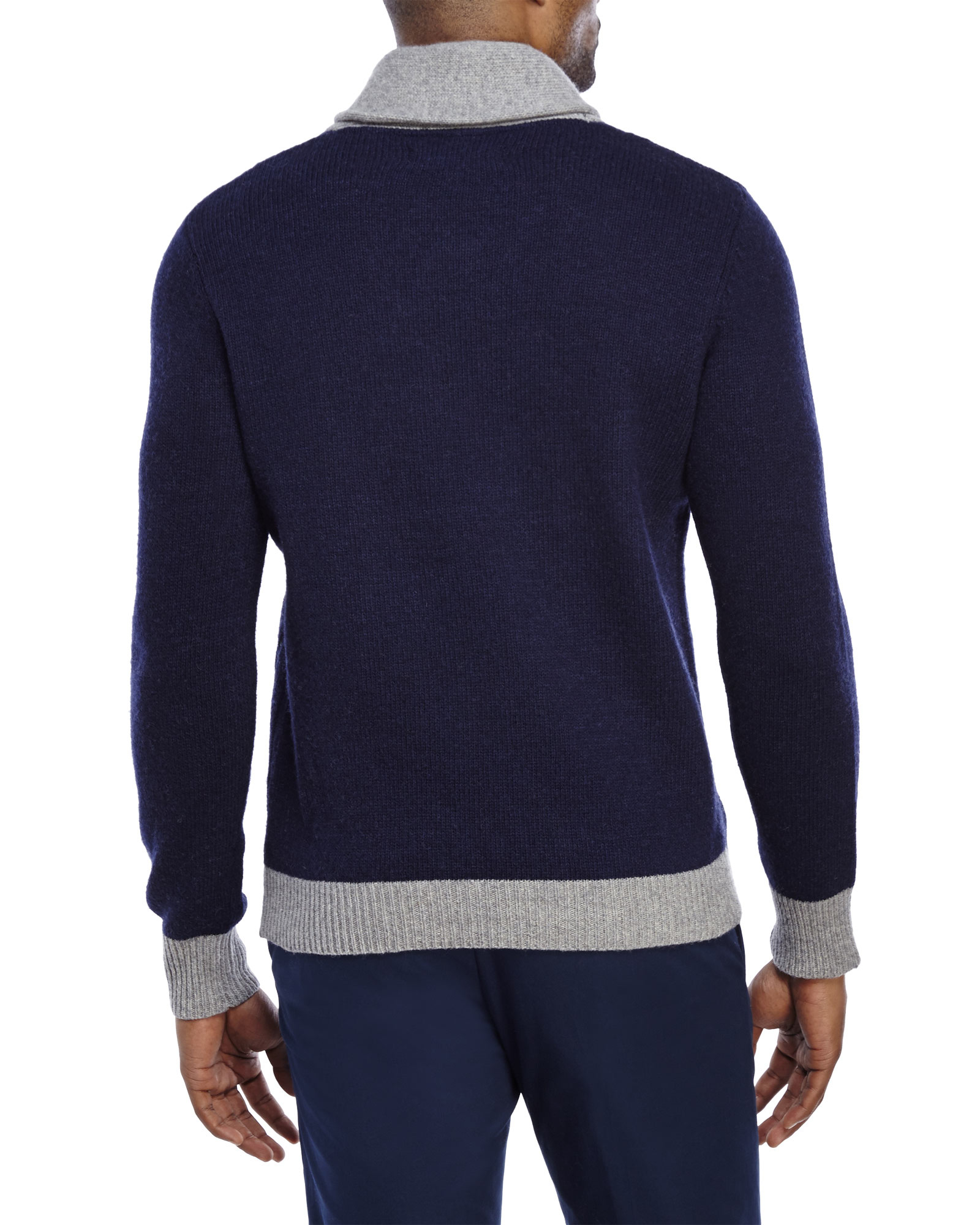 Barque Navy Shawl Collar Cable Knit Wool Sweater in Blue for Men ...