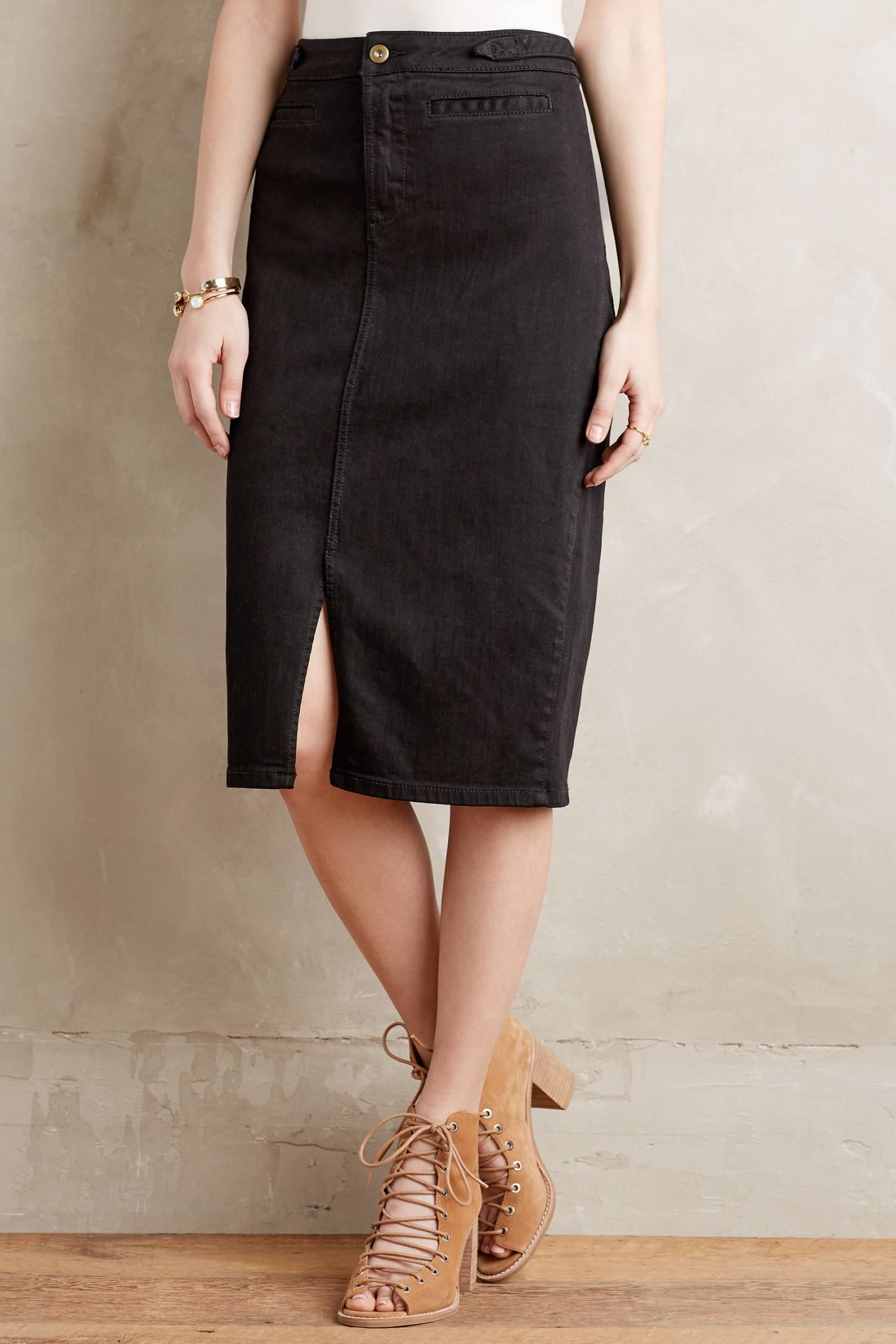 Anthropologie Denim Pencil Skirt in Black | Lyst