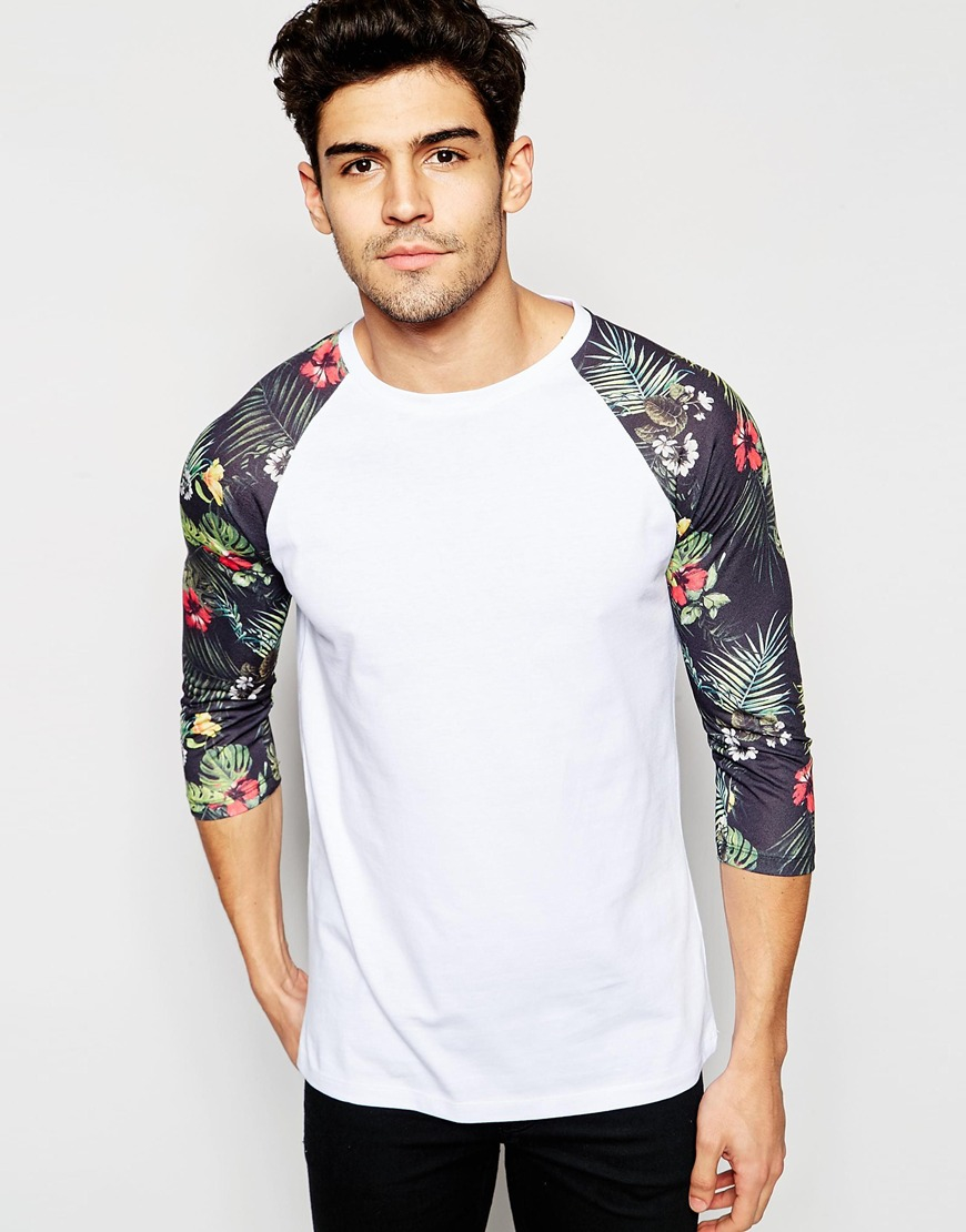 2511bc886 ASOS 3/4 Sleeve T-shirt With Floral Print Sleeves - Black in Black ...
