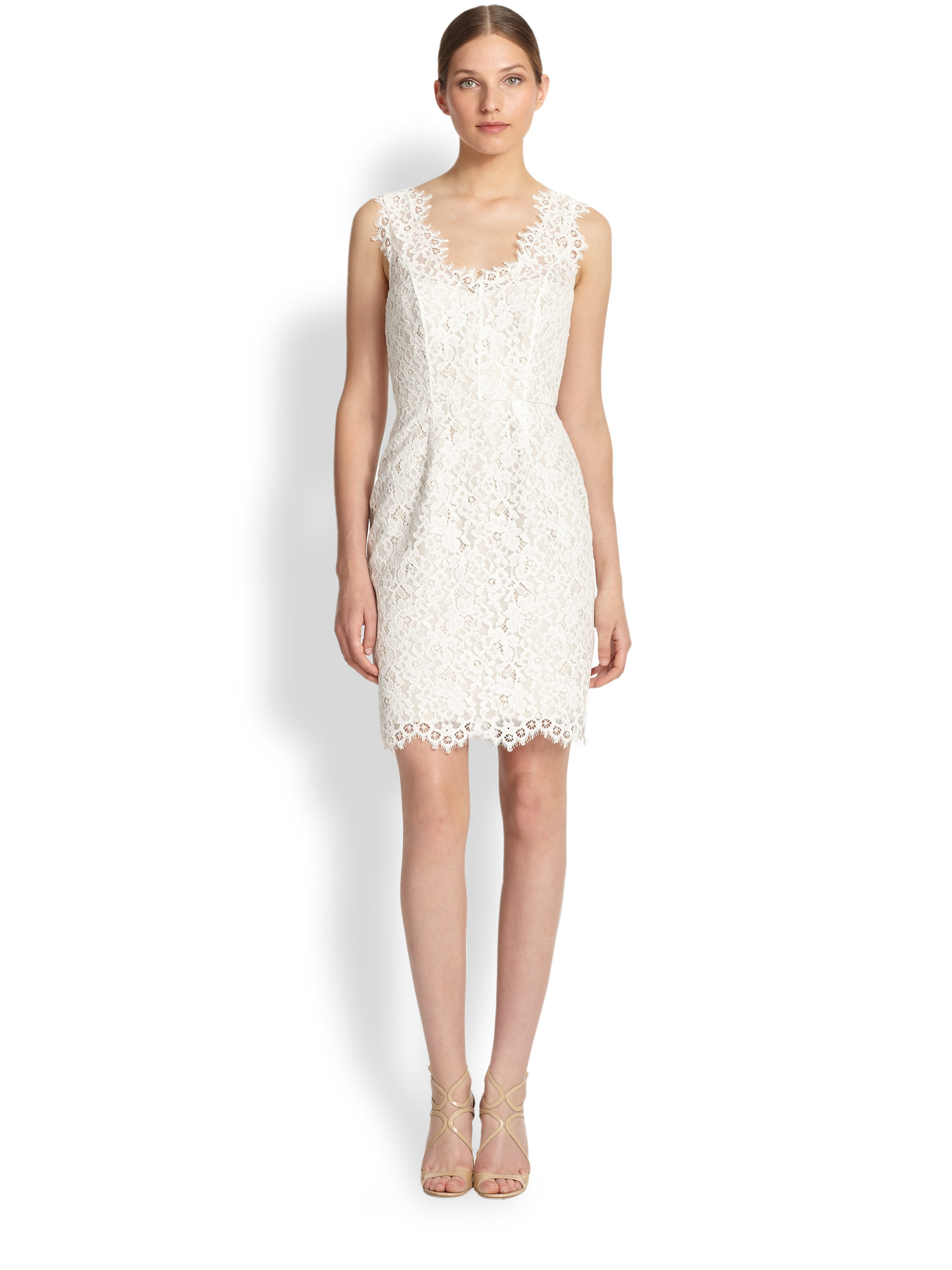 Shoshanna Rose Lace Cocktail Dress in White | Lyst