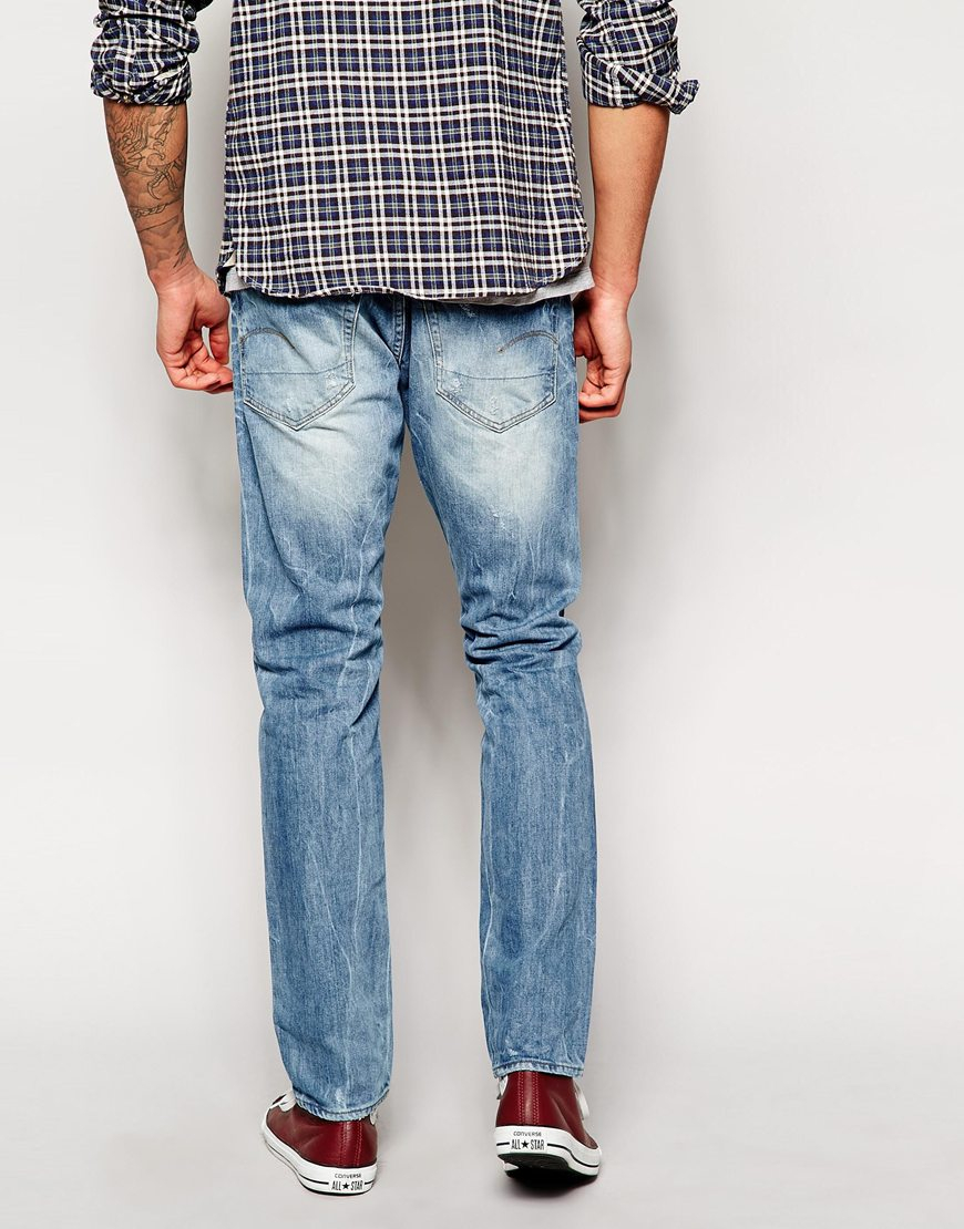 g star raw g star 3301 straight reton light aged jean in blue for men lyst. Black Bedroom Furniture Sets. Home Design Ideas