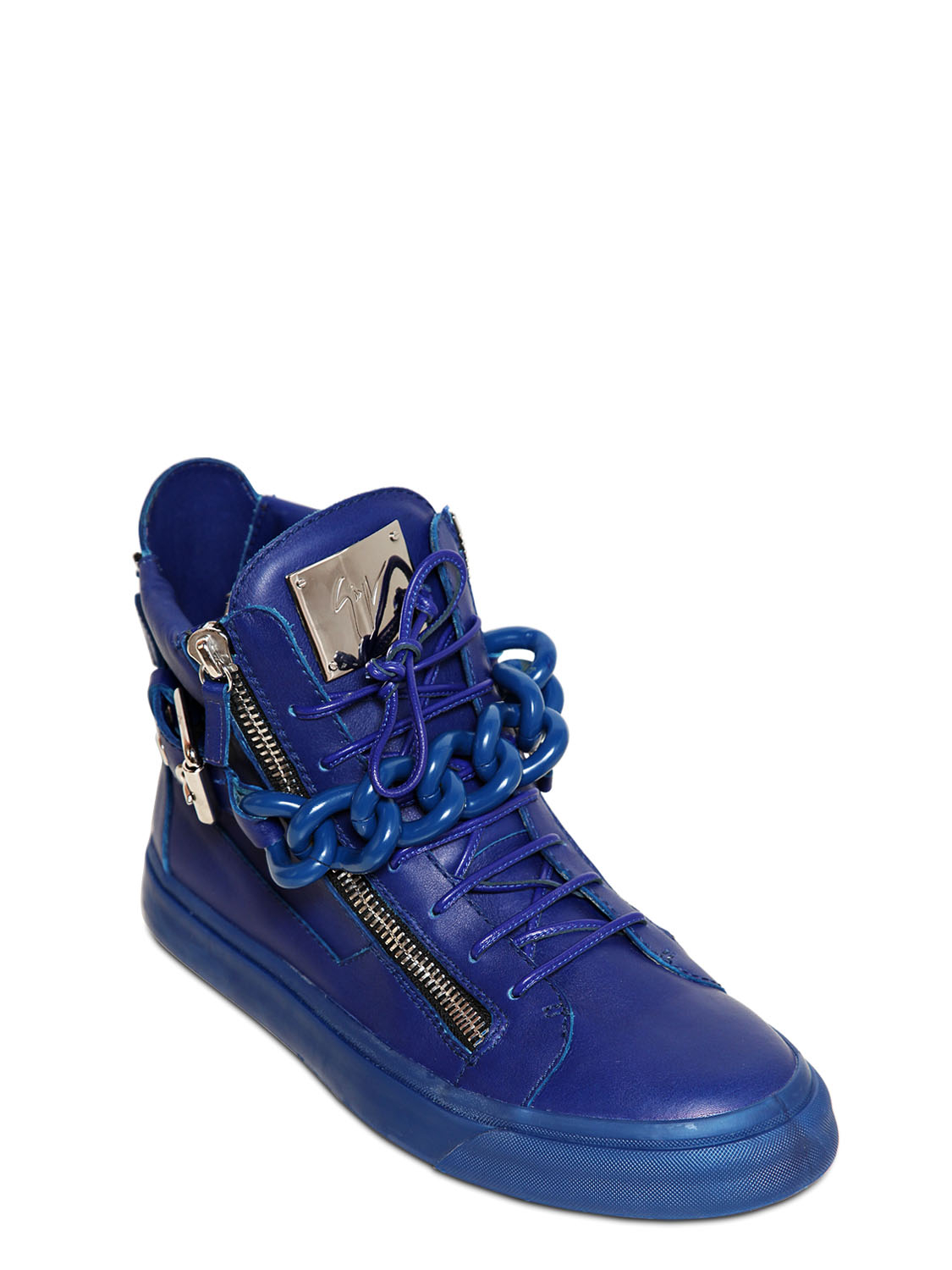 Giuseppe Zanotti Homme Metal Chain Leather High Top