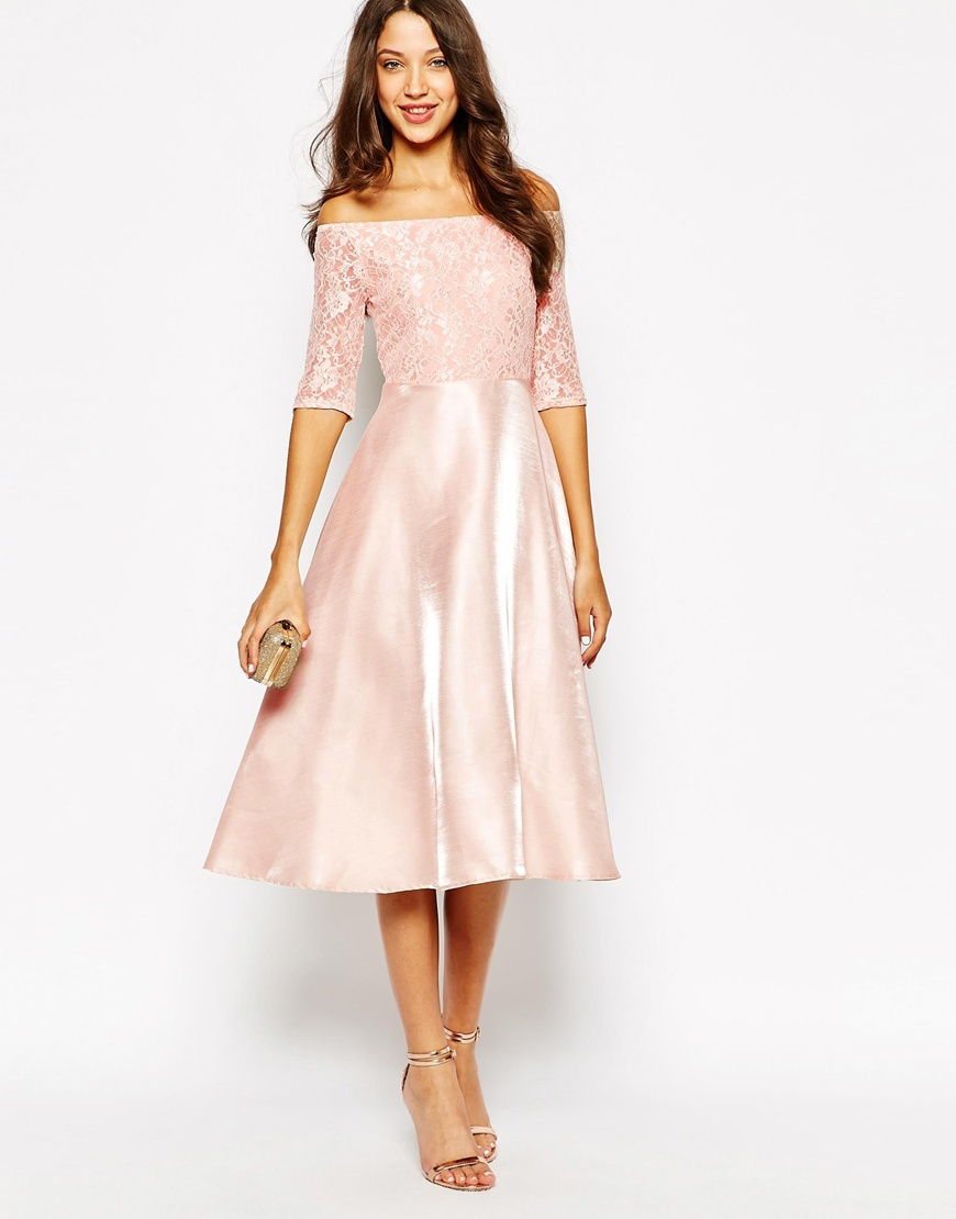 Lyst - True Decadence Satin Midi Prom Dress in Pink