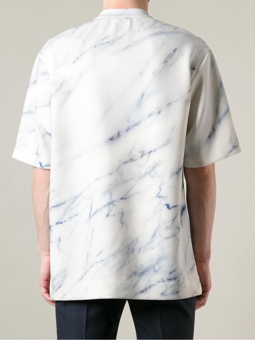 Lyst Juun J Oversized Marble Tshirt In White For Men